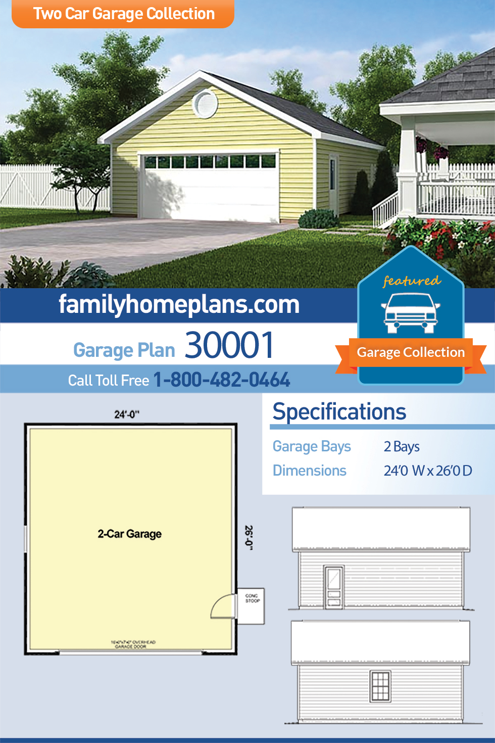 Country, Traditional 2 Car Garage Plan 30001