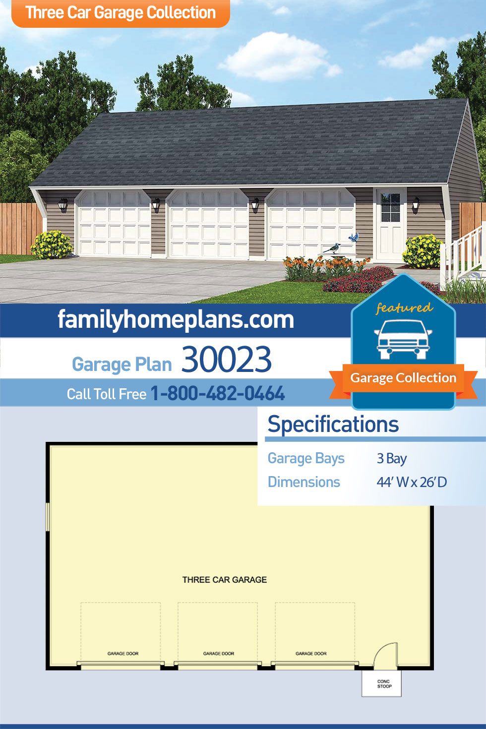 Cape Cod, Saltbox, Traditional 3 Car Garage Plan 30023