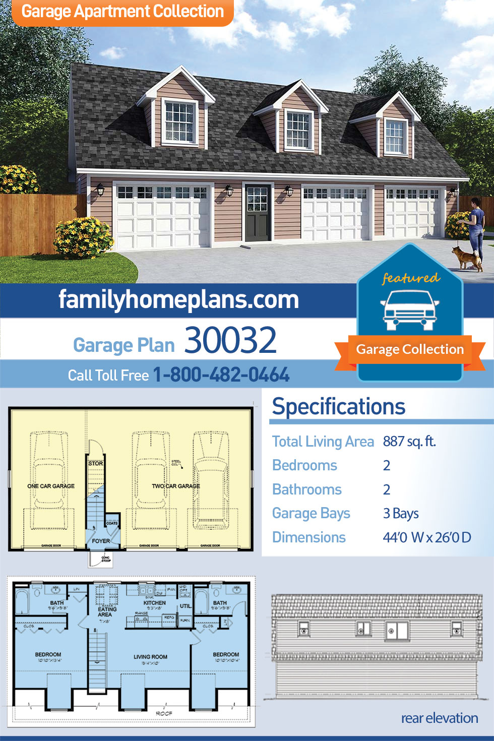 Cape Cod, Country, Traditional 3 Car Garage Apartment Plan 30032 with 2 Beds, 2 Baths