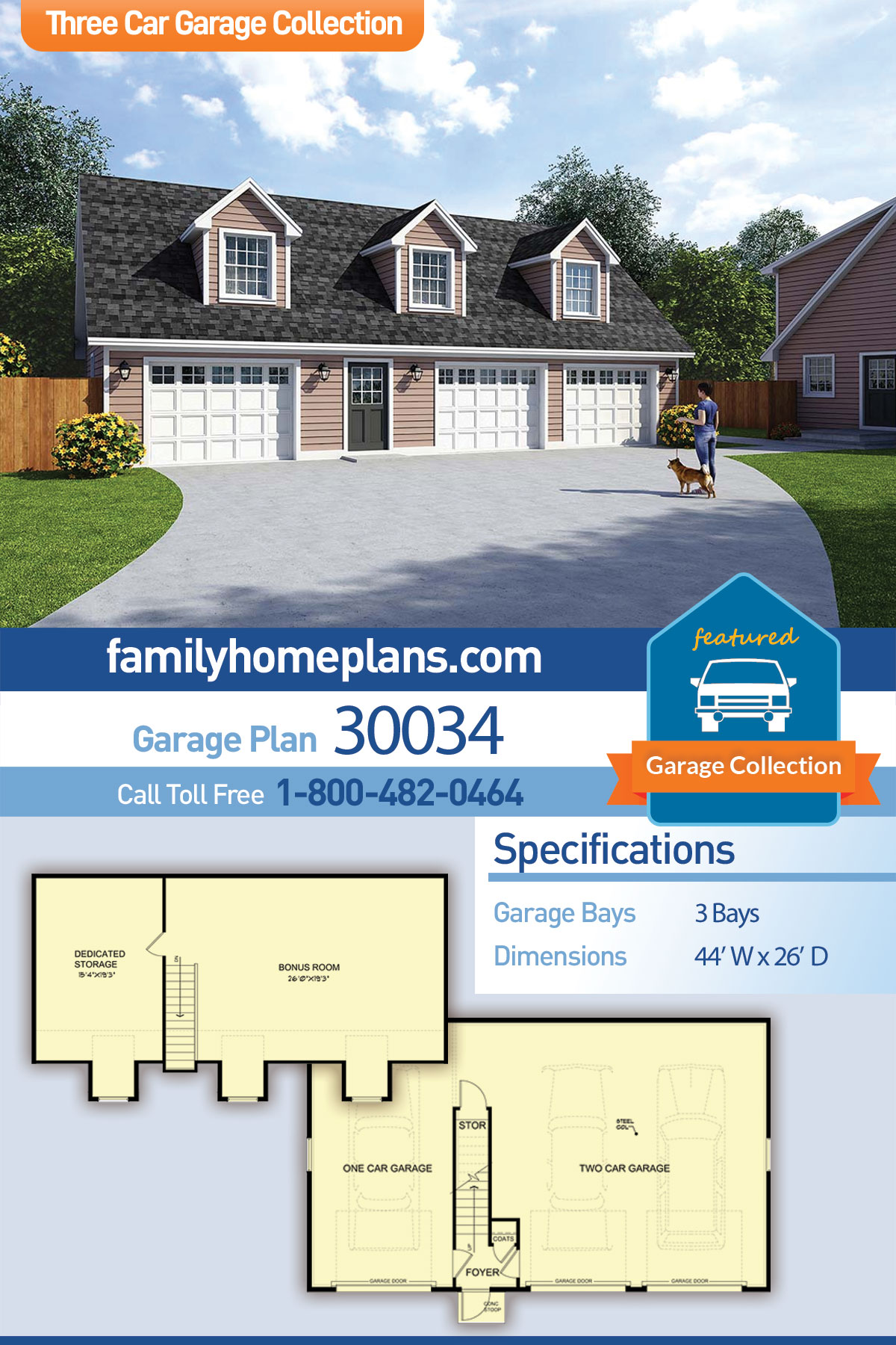 Cape Cod, Saltbox, Traditional Garage-Living Plan 30034, 3 Car Garage