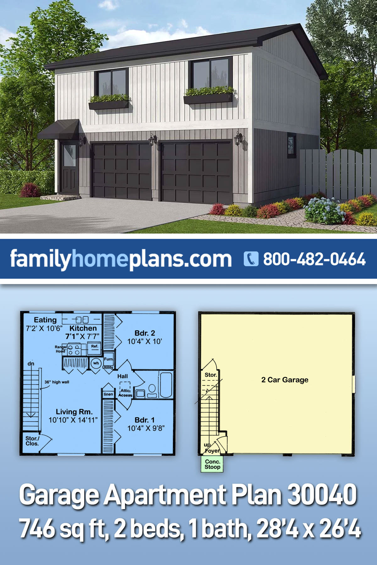Contemporary, Traditional Garage-Living Plan 30040 with 2 Beds, 1 Baths, 2 Car Garage