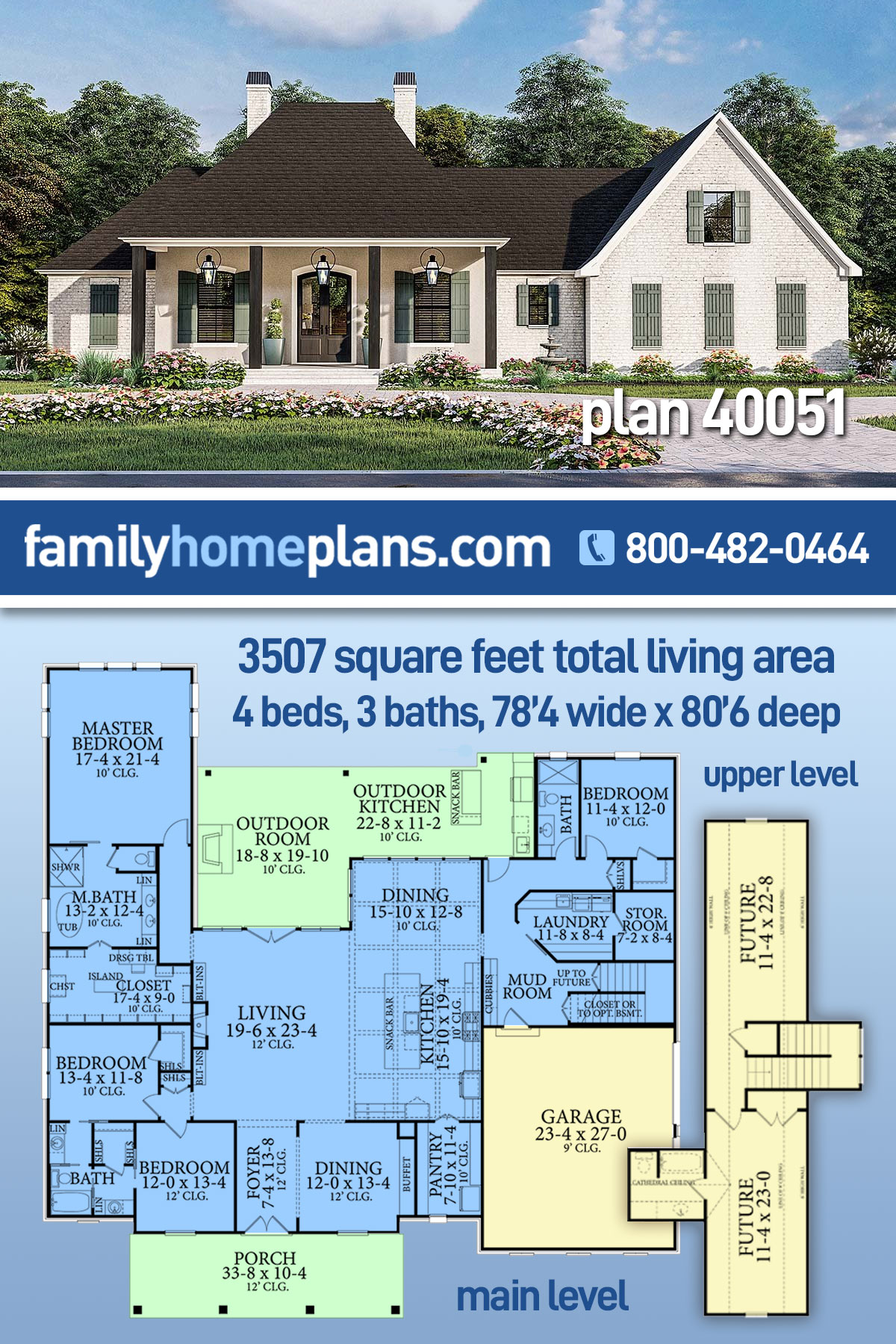 Acadian, Country, Farmhouse, French Country, Southern, Traditional House Plan 40051 with 4 Beds, 3 Baths, 2 Car Garage