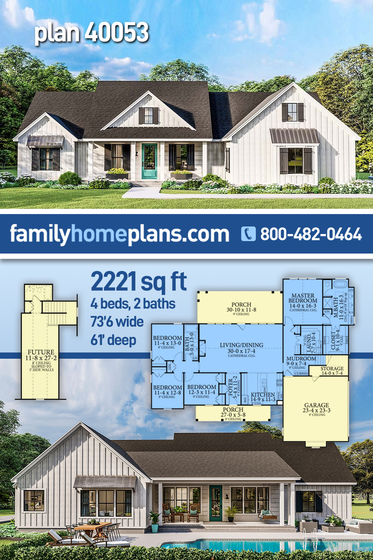 Country, Farmhouse, Ranch, Southern House Plan 40053 with 4 Beds, 2 Baths, 2 Car Garage