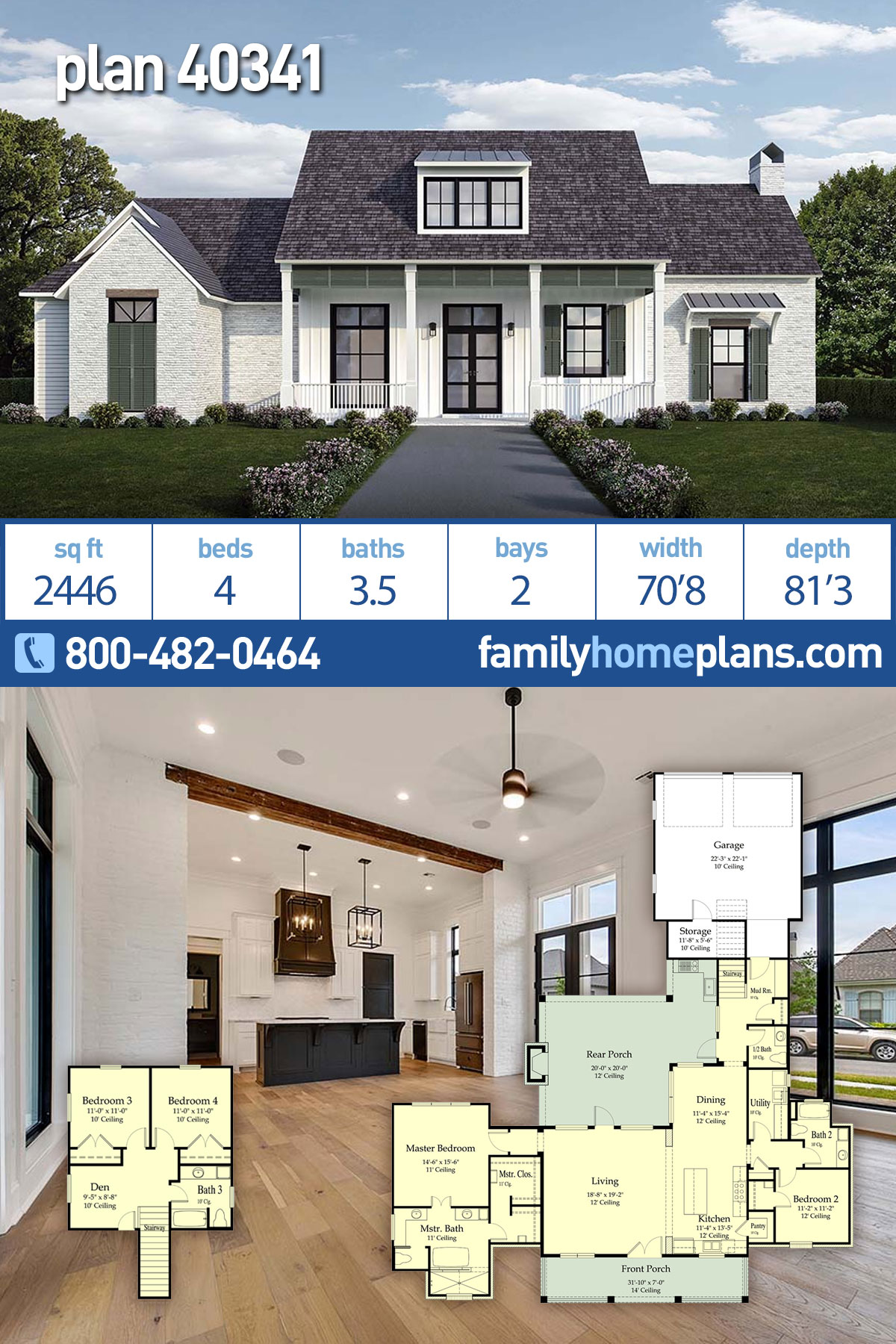 Country, Farmhouse, Southern House Plan 40341 with 4 Beds, 4 Baths, 2 Car Garage