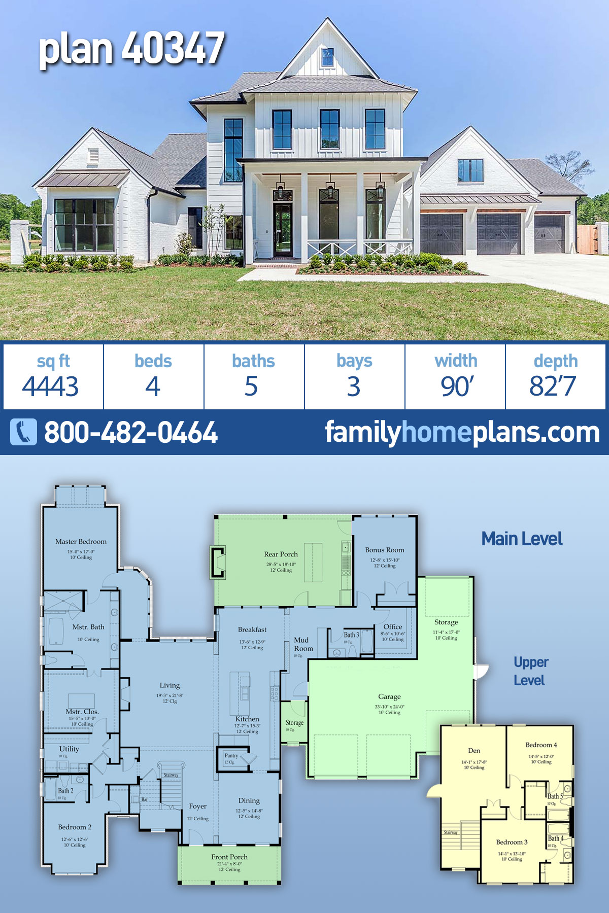 Country, Farmhouse House Plan 40347 with 4 Beds, 5 Baths, 3 Car Garage