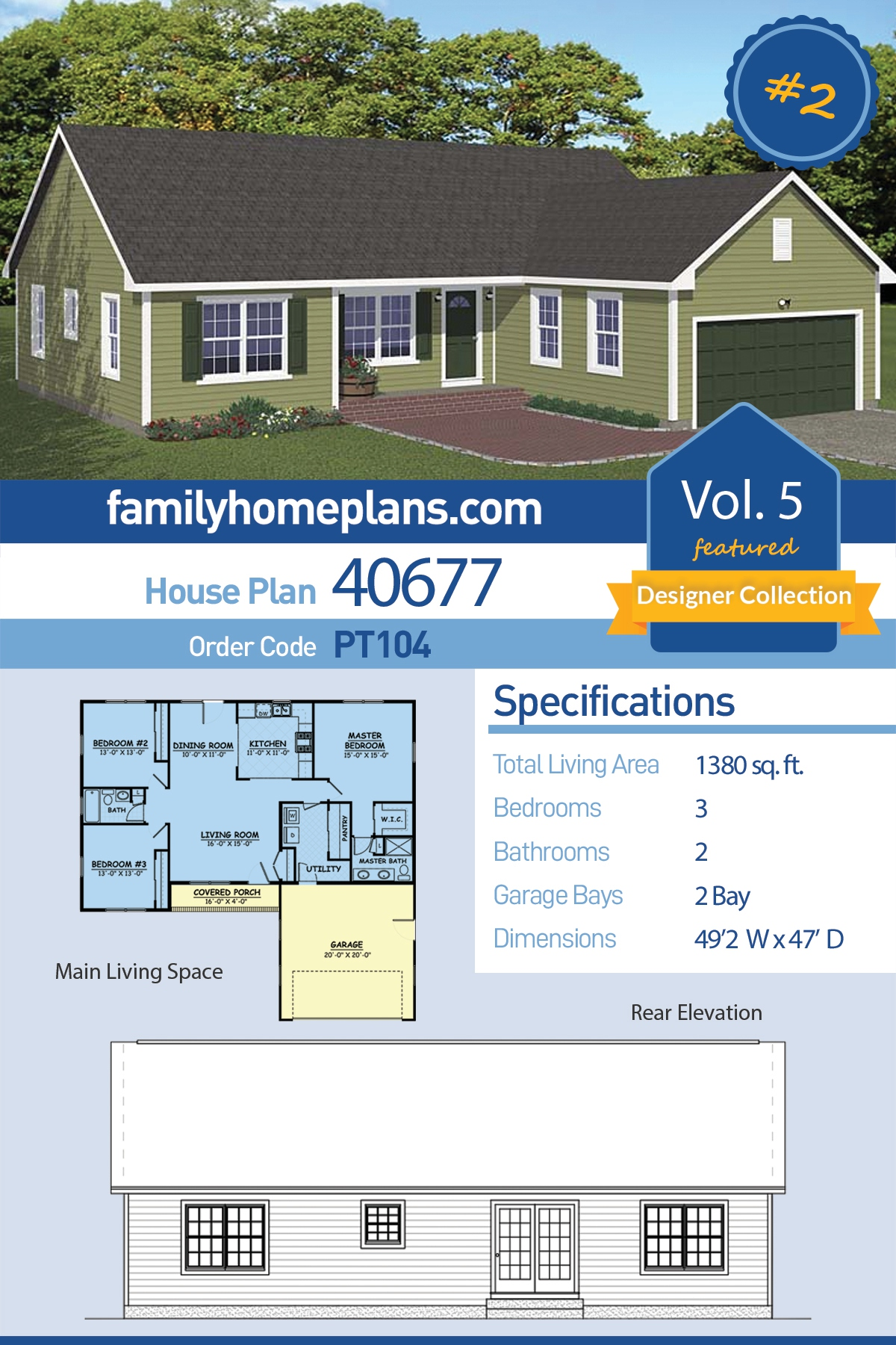 Ranch, Traditional House Plan 40677 with 3 Beds, 2 Baths, 2 Car Garage