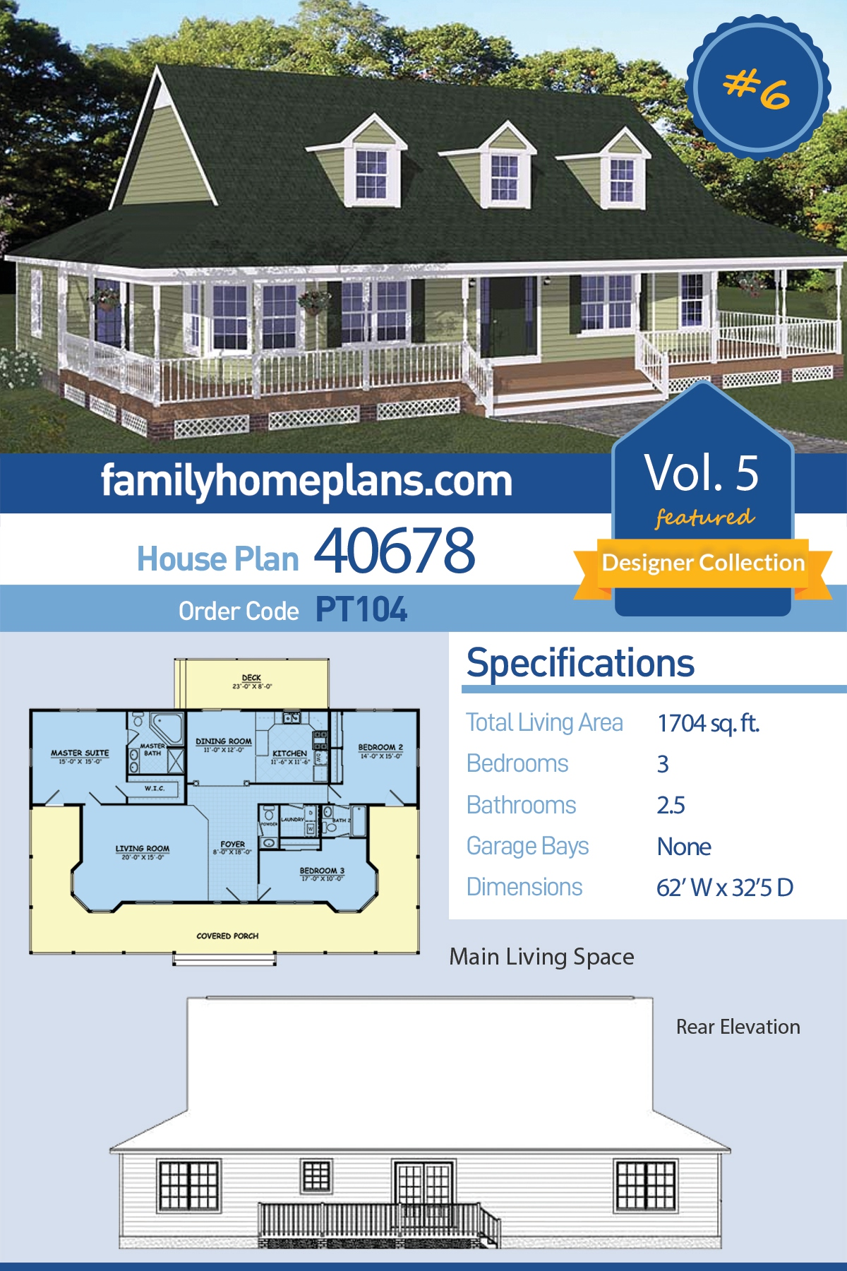 Country, Farmhouse, Southern House Plan 40678 with 3 Beds, 3 Baths