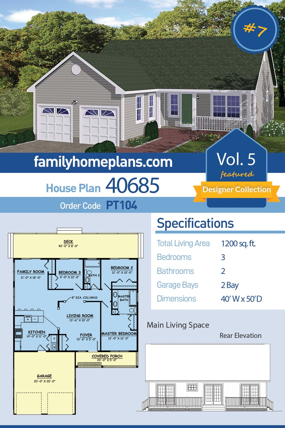 Ranch, Traditional House Plan 40685 with 3 Beds, 2 Baths, 2 Car Garage