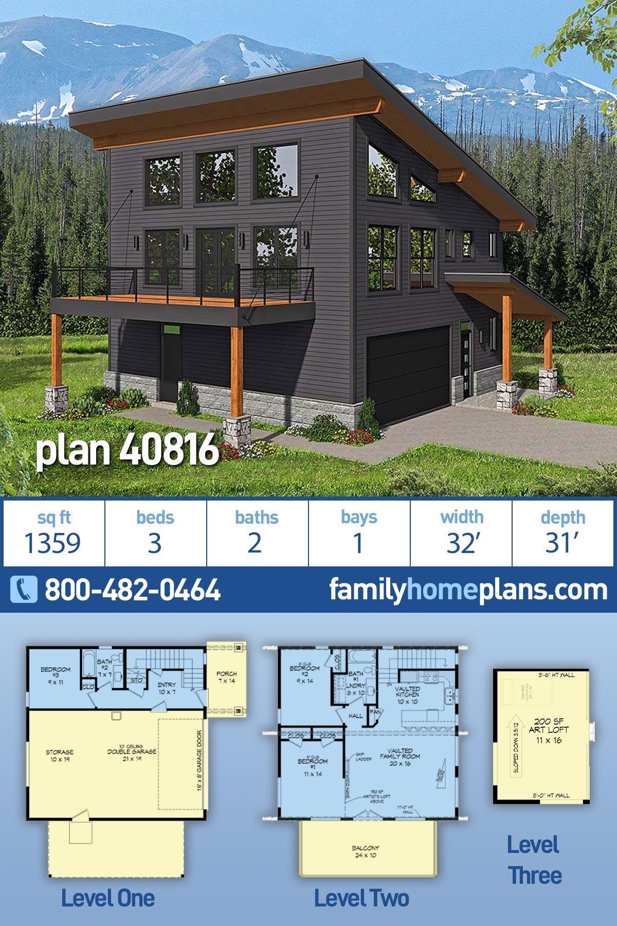 Contemporary , Modern Garage-Living Plan 40816 with 3 Beds, 2 Baths, 2 Car Garage