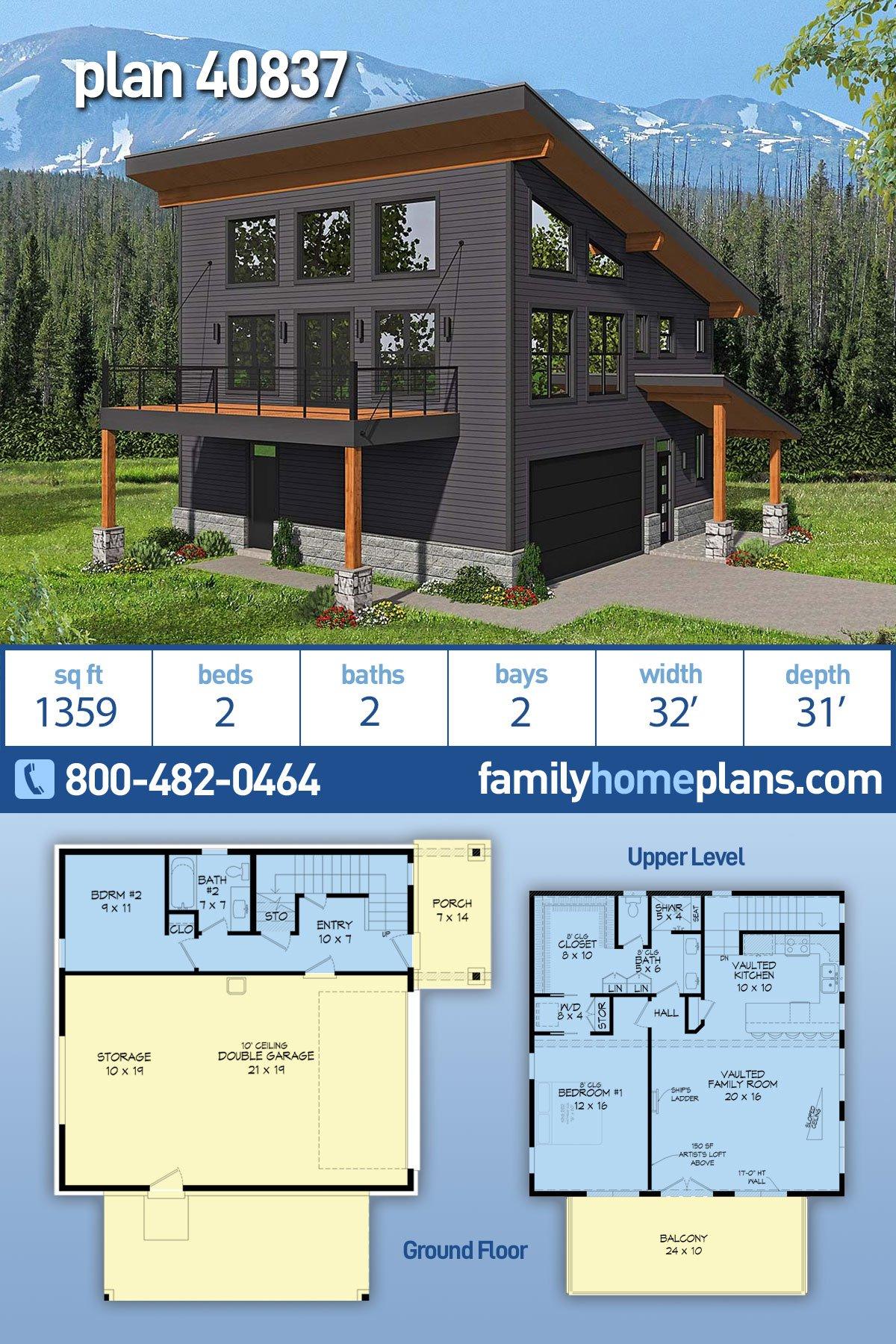 Contemporary, Modern 2 Car Garage Apartment Plan 40837 with 2 Beds, 2 Baths