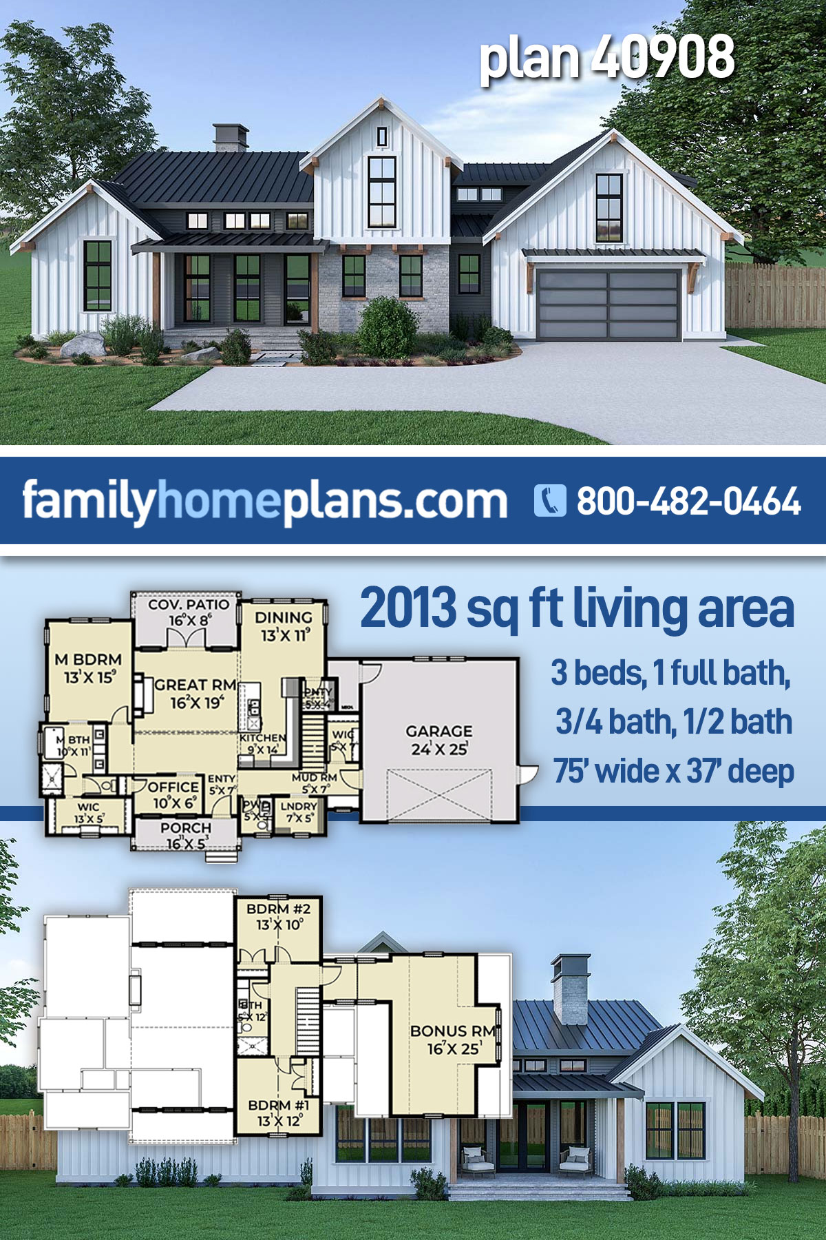 Contemporary, Country, Farmhouse House Plan 40908 with 3 Beds, 3 Baths, 2 Car Garage