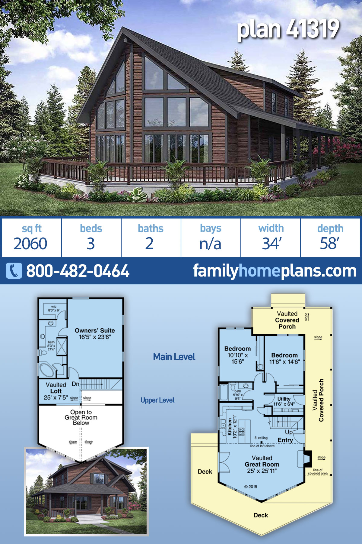 Cabin, Contemporary, Narrow Lot House Plan 41319 with 3 Beds, 2 Baths