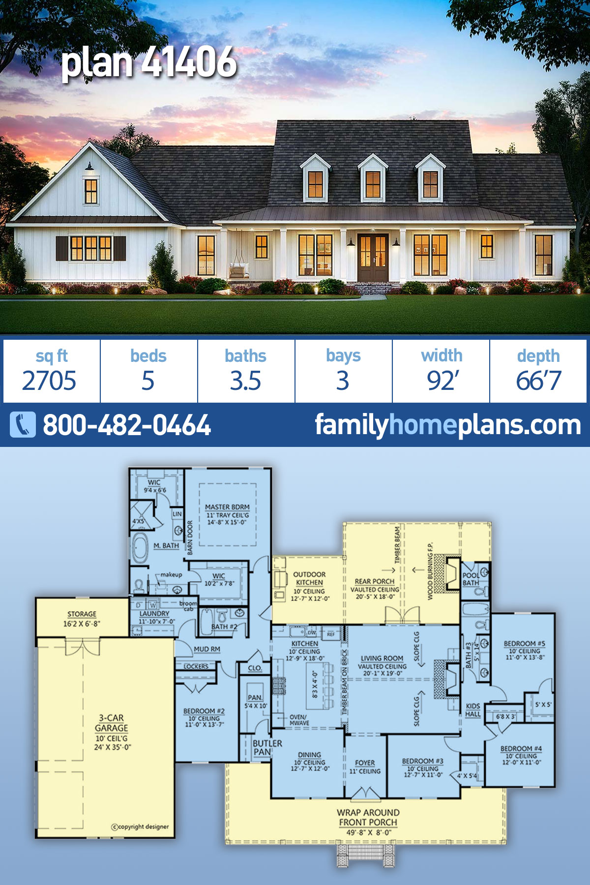 Country, Farmhouse House Plan 41406 with 5 Beds, 4 Baths, 3 Car Garage