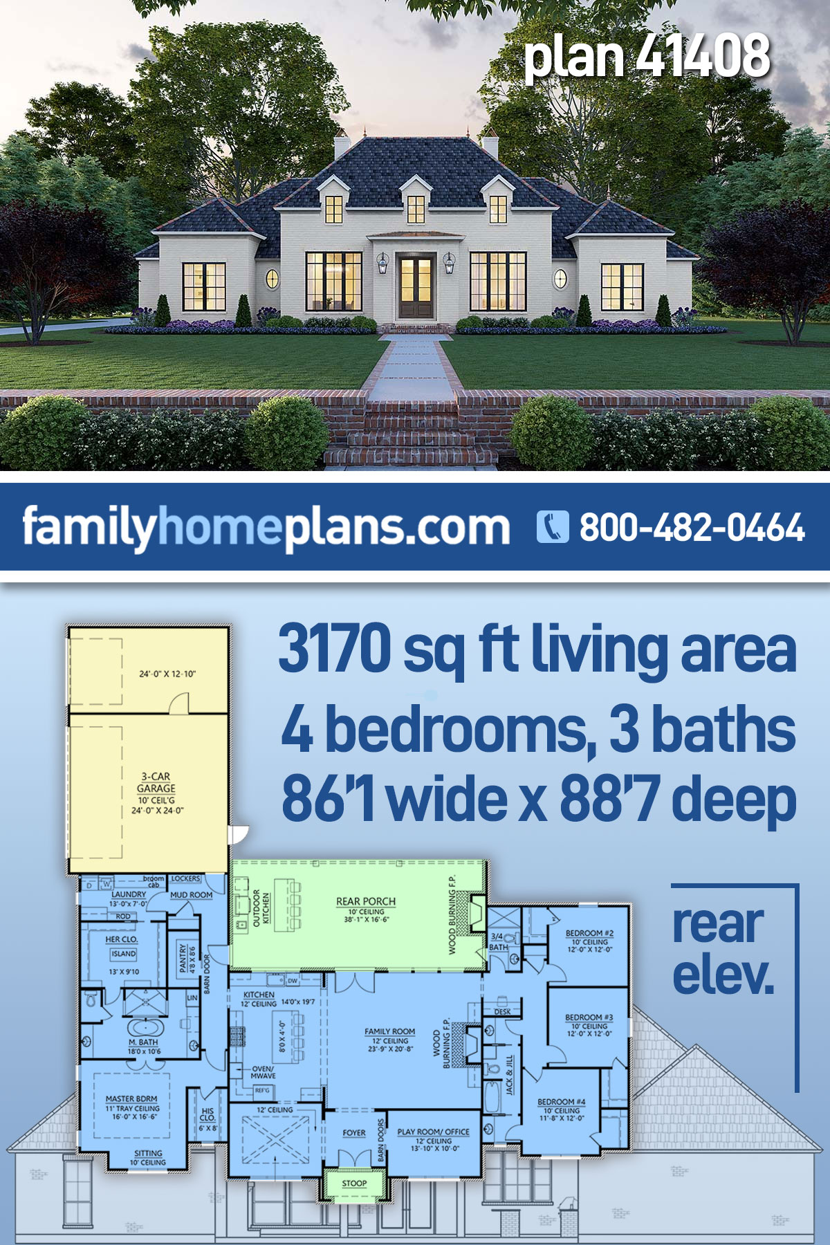 Colonial, European, French Country House Plan 41408 with 4 Beds, 3 Baths, 3 Car Garage