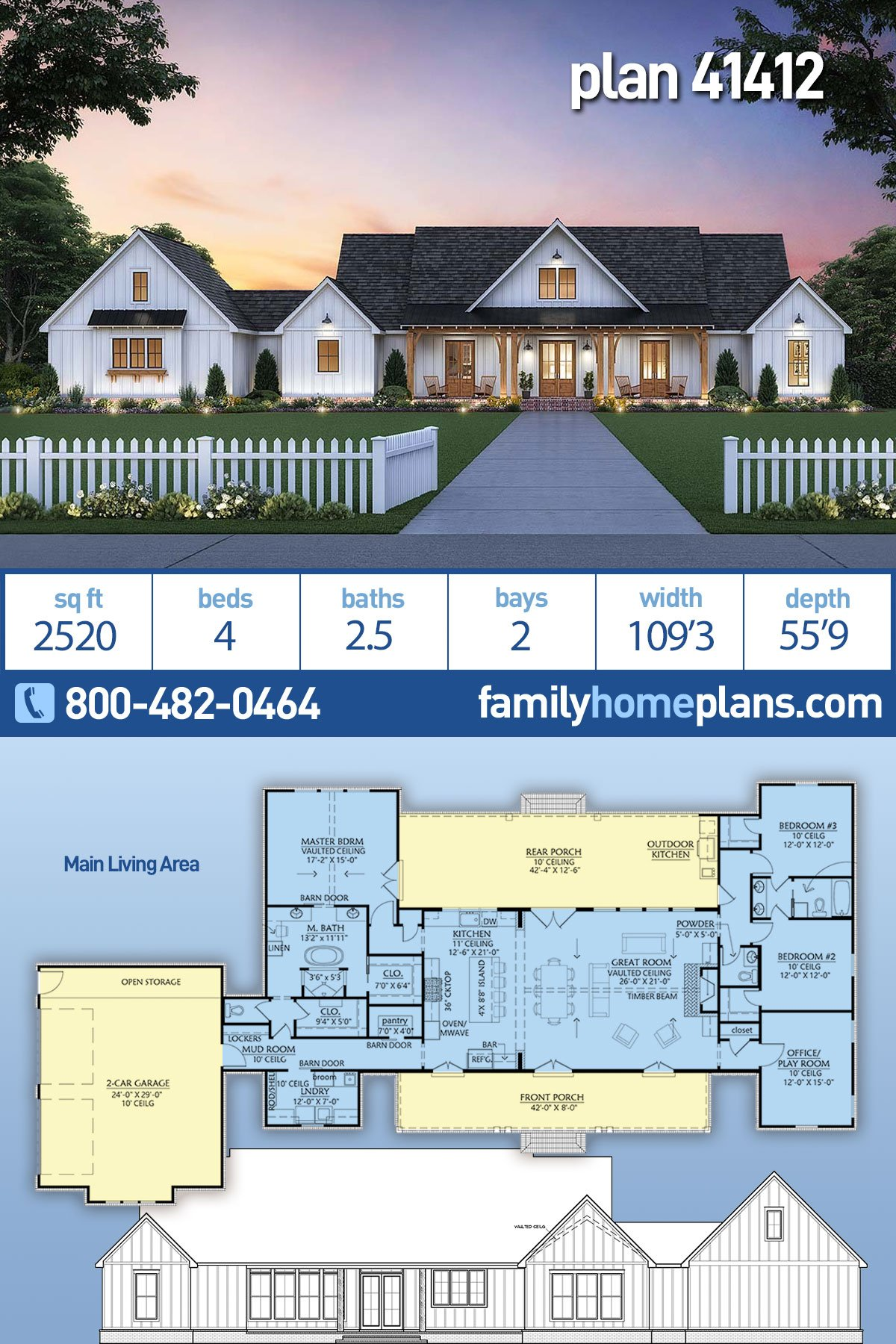 Country, Farmhouse, Traditional House Plan 41412 with 4 Beds, 3 Baths, 2 Car Garage