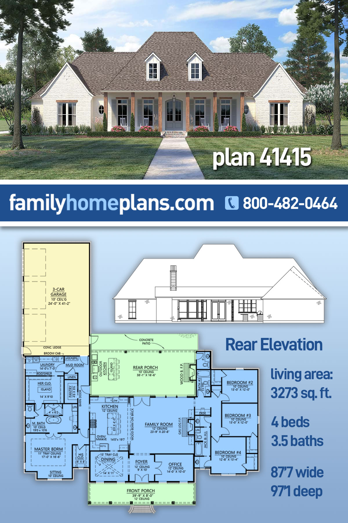 Country, European, French Country House Plan 41415 with 4 Beds, 4 Baths, 3 Car Garage