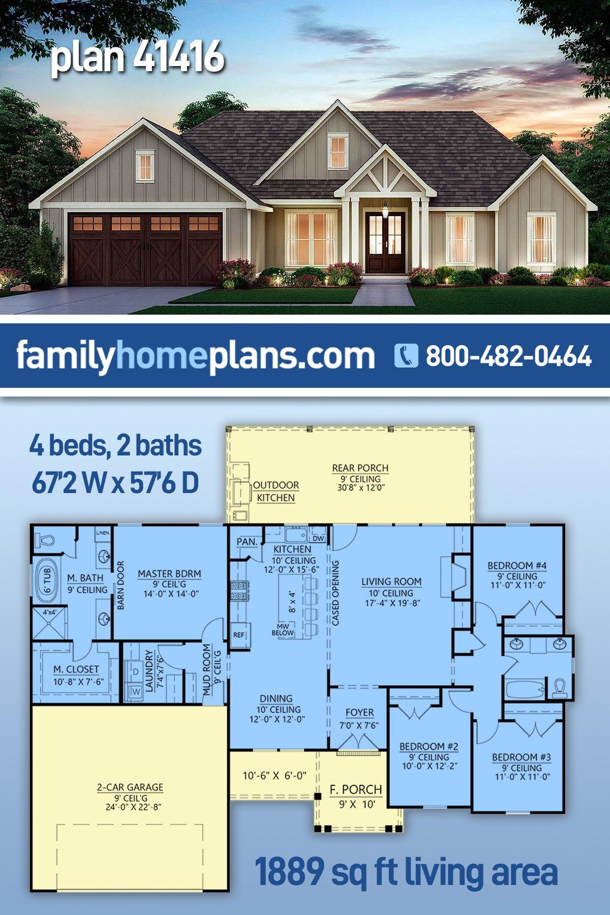 Craftsman, Farmhouse House Plan 41416 with 4 Beds, 2 Baths, 2 Car Garage