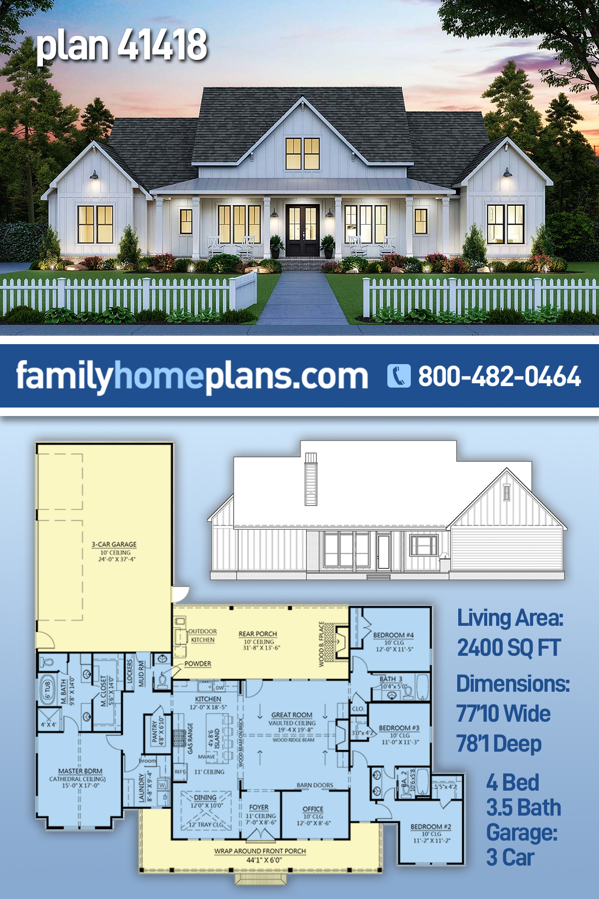 Country, Farmhouse House Plan 41418 with 4 Beds, 4 Baths, 3 Car Garage
