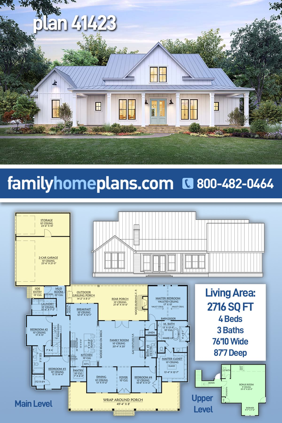 Country, Farmhouse House Plan 41423 with 4 Beds, 3 Baths, 2 Car Garage