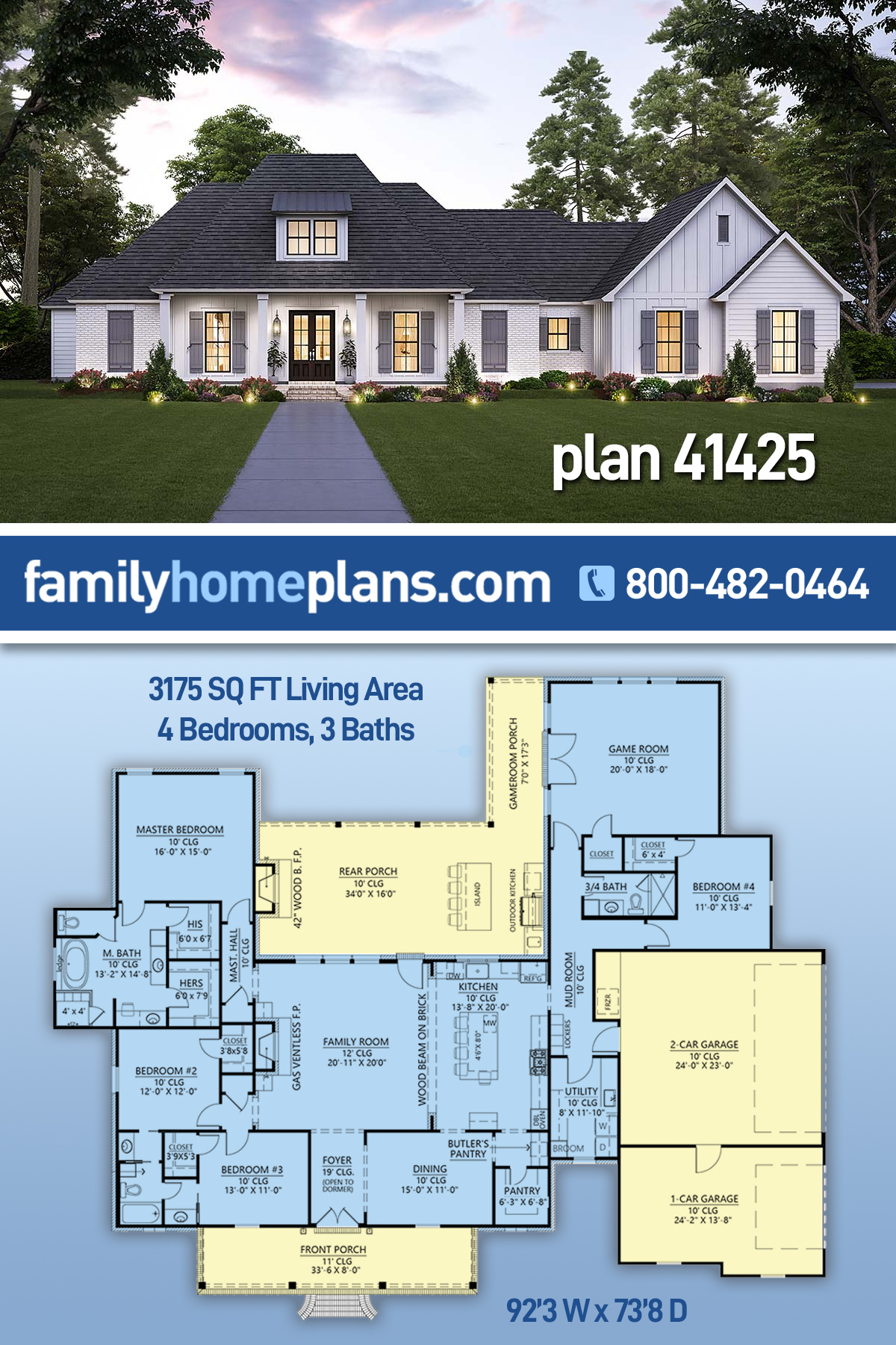 Acadian, French Country House Plan 41425 with 4 Beds, 3 Baths, 3 Car Garage