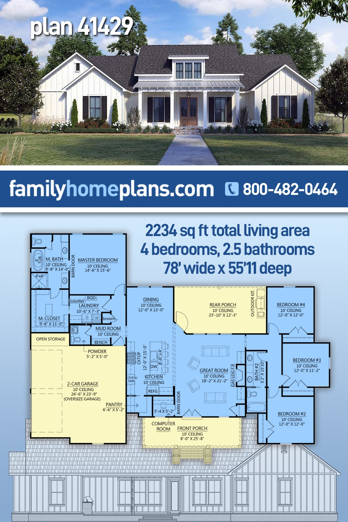 Country, Farmhouse House Plan 41429 with 4 Beds, 3 Baths, 2 Car Garage