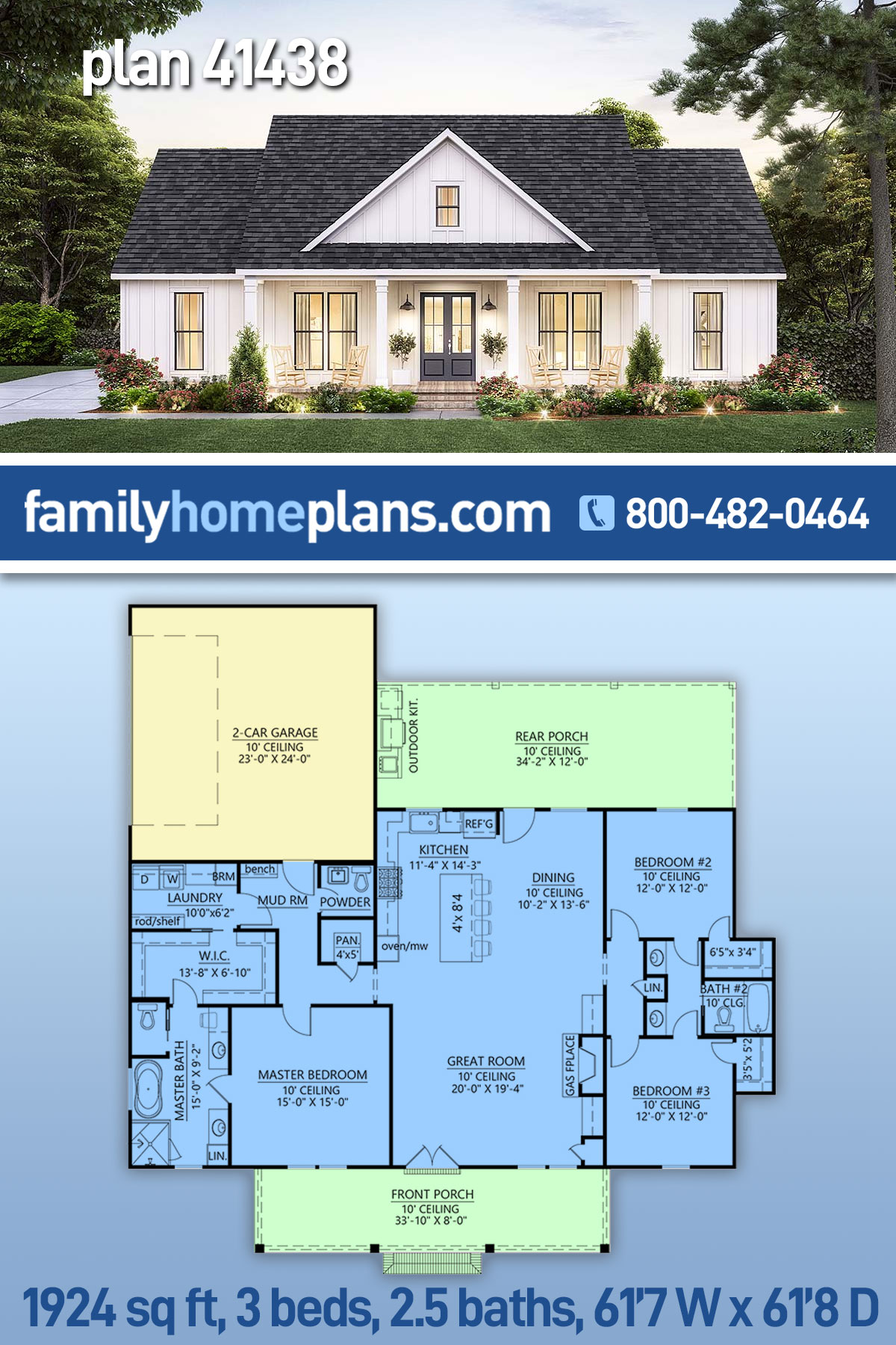 Country, Craftsman, Farmhouse House Plan 41438 with 3 Beds, 3 Baths, 2 Car Garage