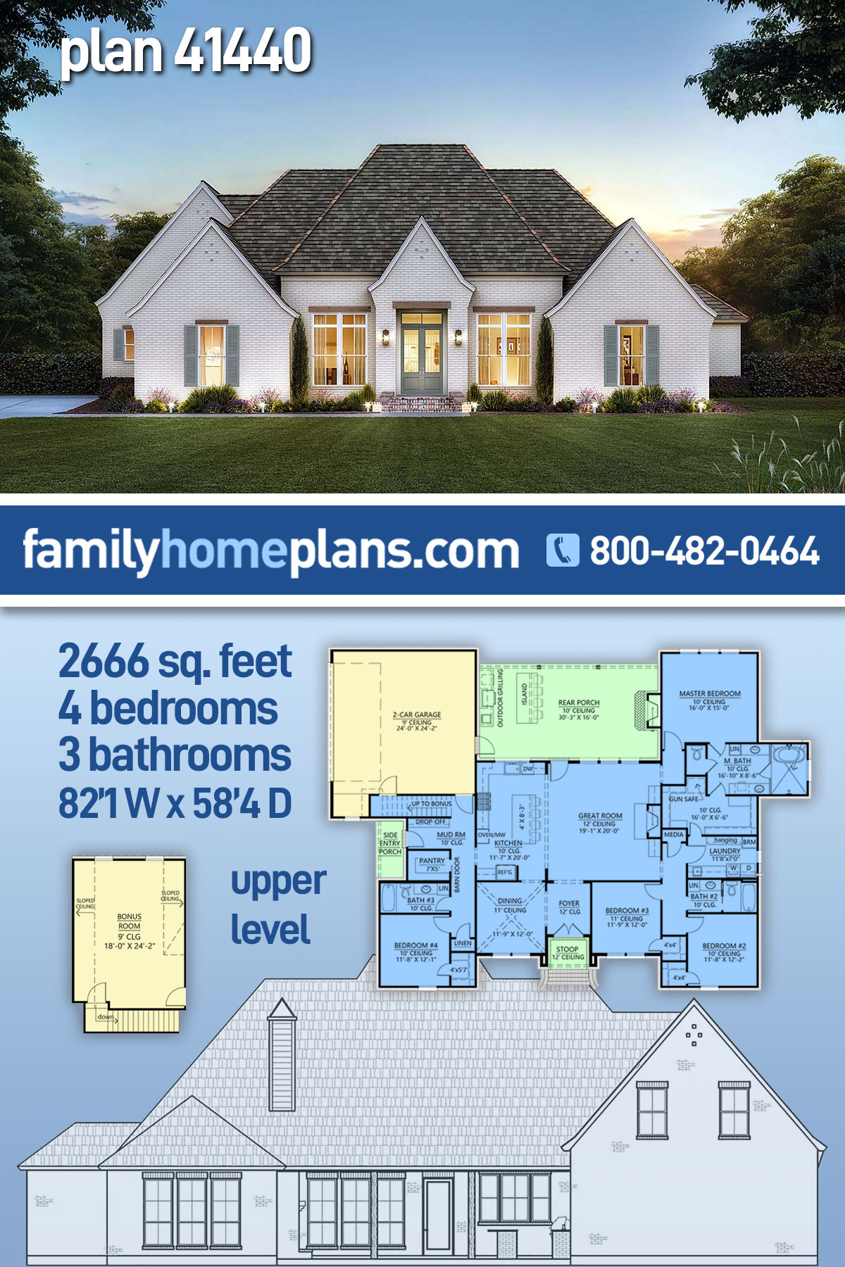 Acadian, European, French Country House Plan 41440 with 4 Beds, 3 Baths, 2 Car Garage
