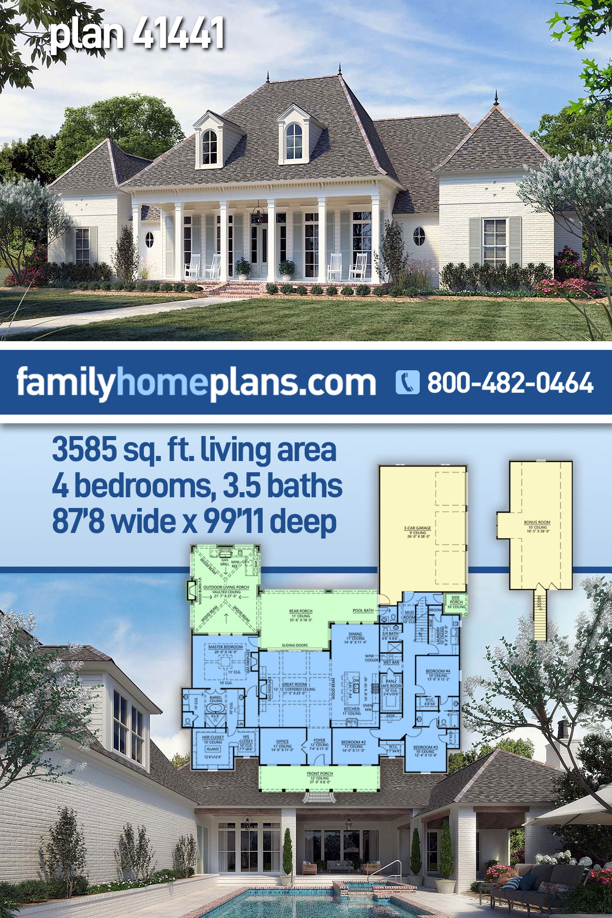 Acadian, French Country, Southern House Plan 41441 with 4 Beds, 4 Baths, 3 Car Garage