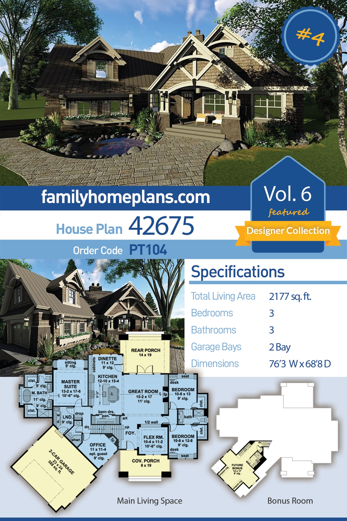 Bungalow, Cottage, Craftsman, Tudor House Plan 42675 with 3 Beds, 3 Baths, 2 Car Garage