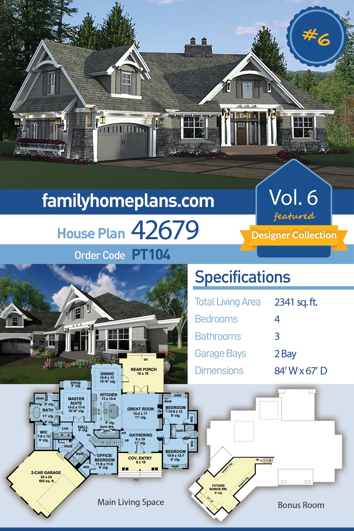 Bungalow, Cottage, Craftsman, French Country, Tudor House Plan 42679 with 4 Beds, 3 Baths, 2 Car Garage