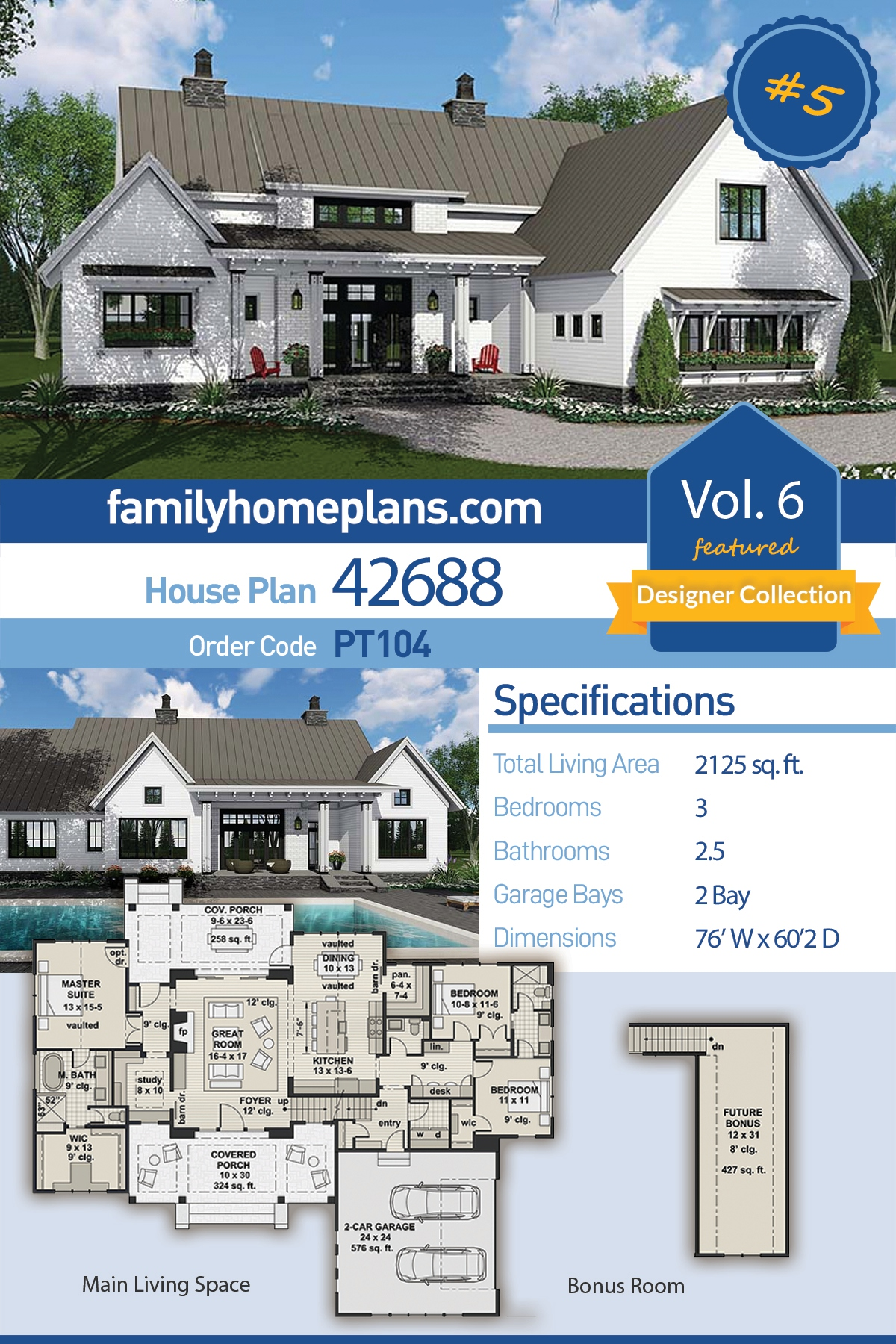 Country, Farmhouse, Southern, Traditional House Plan 42688 with 3 Beds, 3 Baths, 2 Car Garage