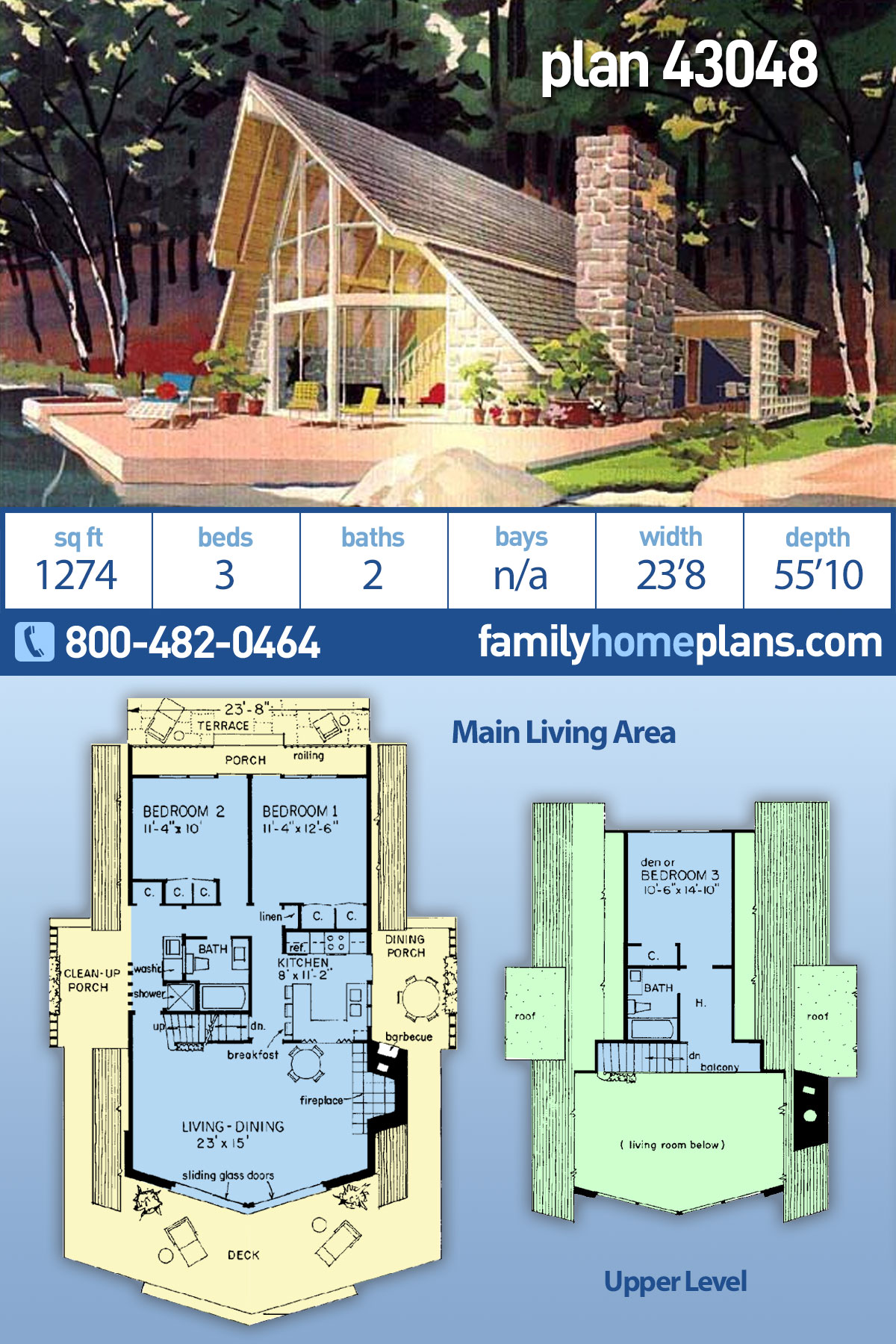 A-Frame, Cabin, Contemporary House Plan 43048 with 3 Beds, 2 Baths