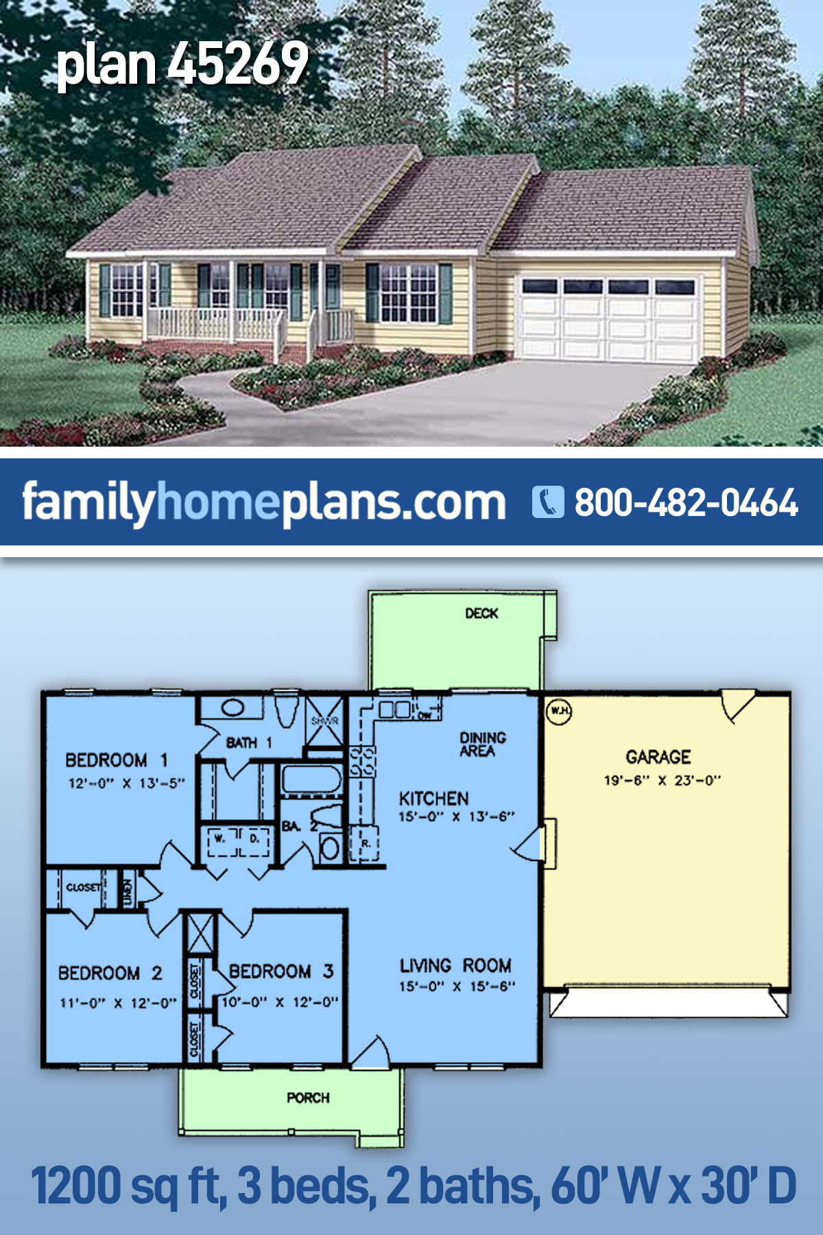 Ranch House Plan 45269 with 3 Beds, 2 Baths, 2 Car Garage
