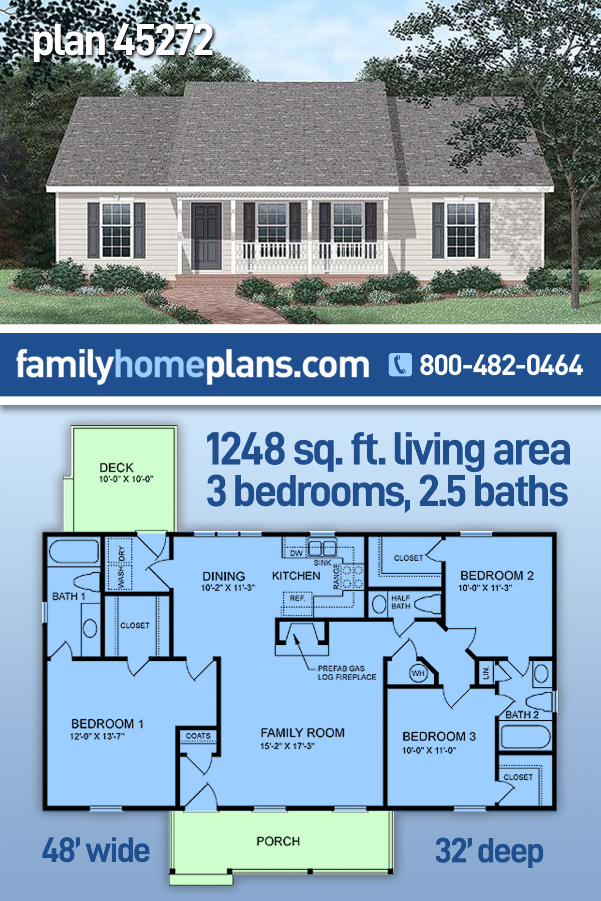 Ranch House Plan 45272 with 3 Beds, 3 Baths