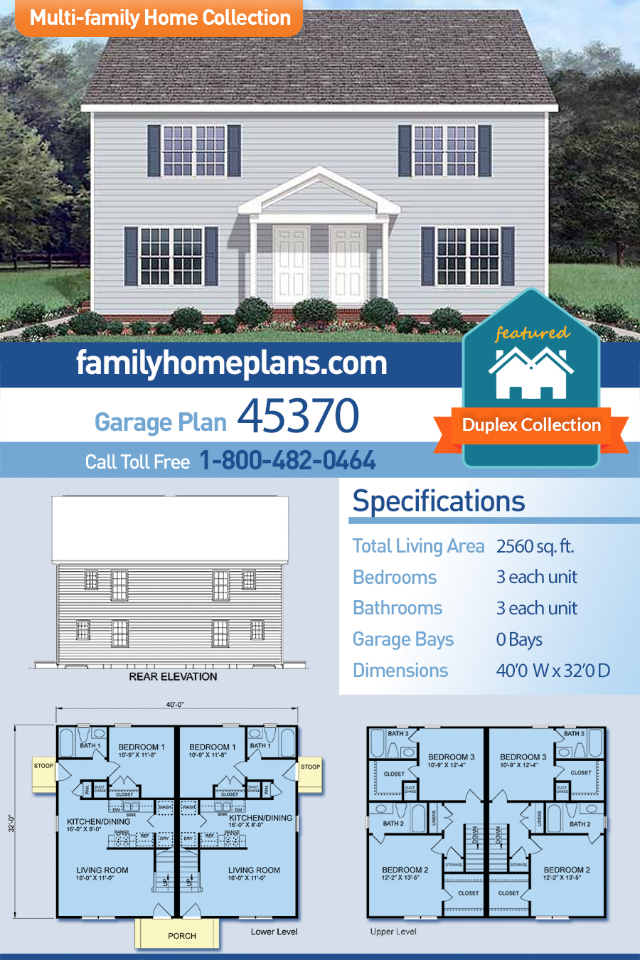 Colonial Multi-Family Plan 45370 with 6 Beds, 6 Baths