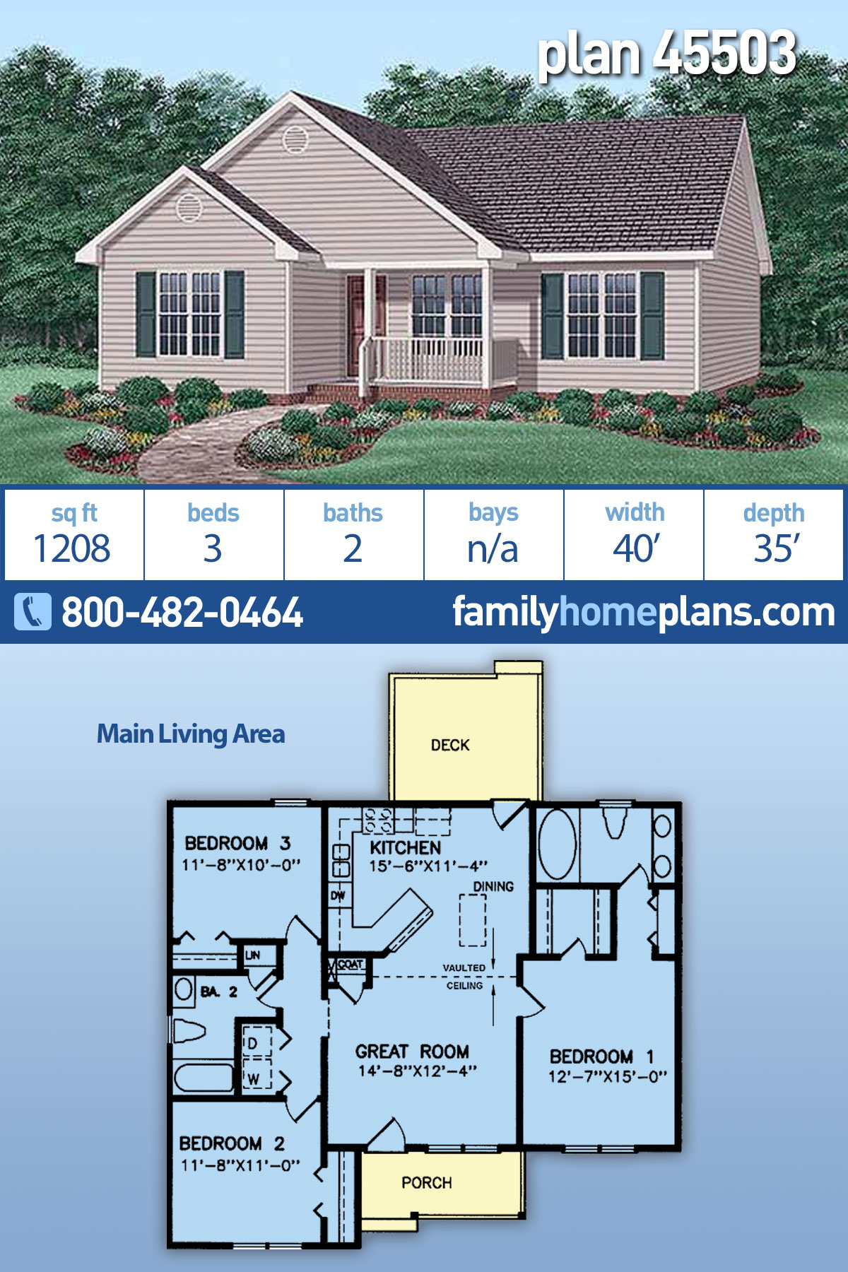 Narrow Lot, Traditional House Plan 45503 with 3 Beds, 2 Baths