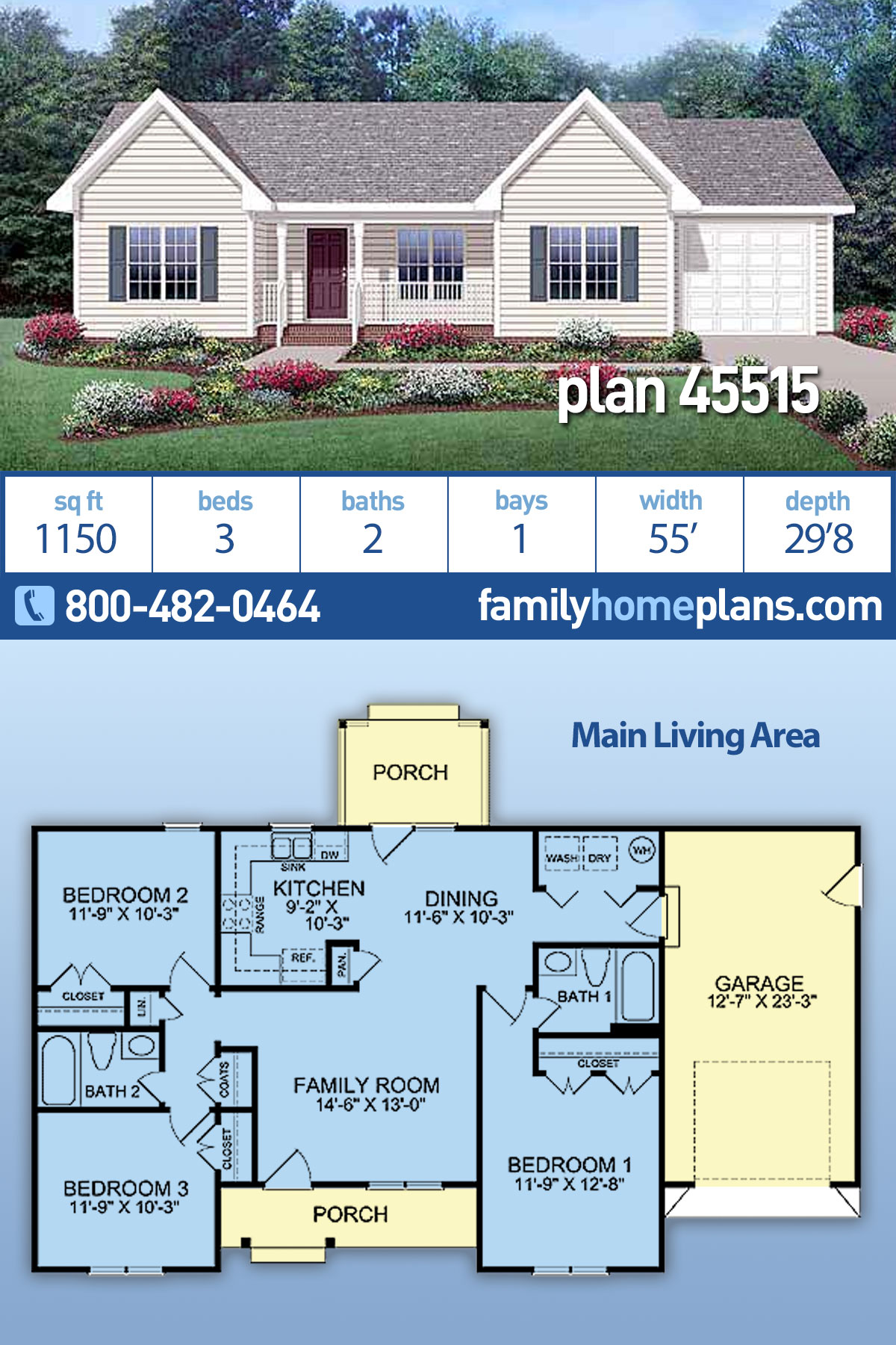 Country, Ranch House Plan 45515 with 3 Beds, 2 Baths, 1 Car Garage