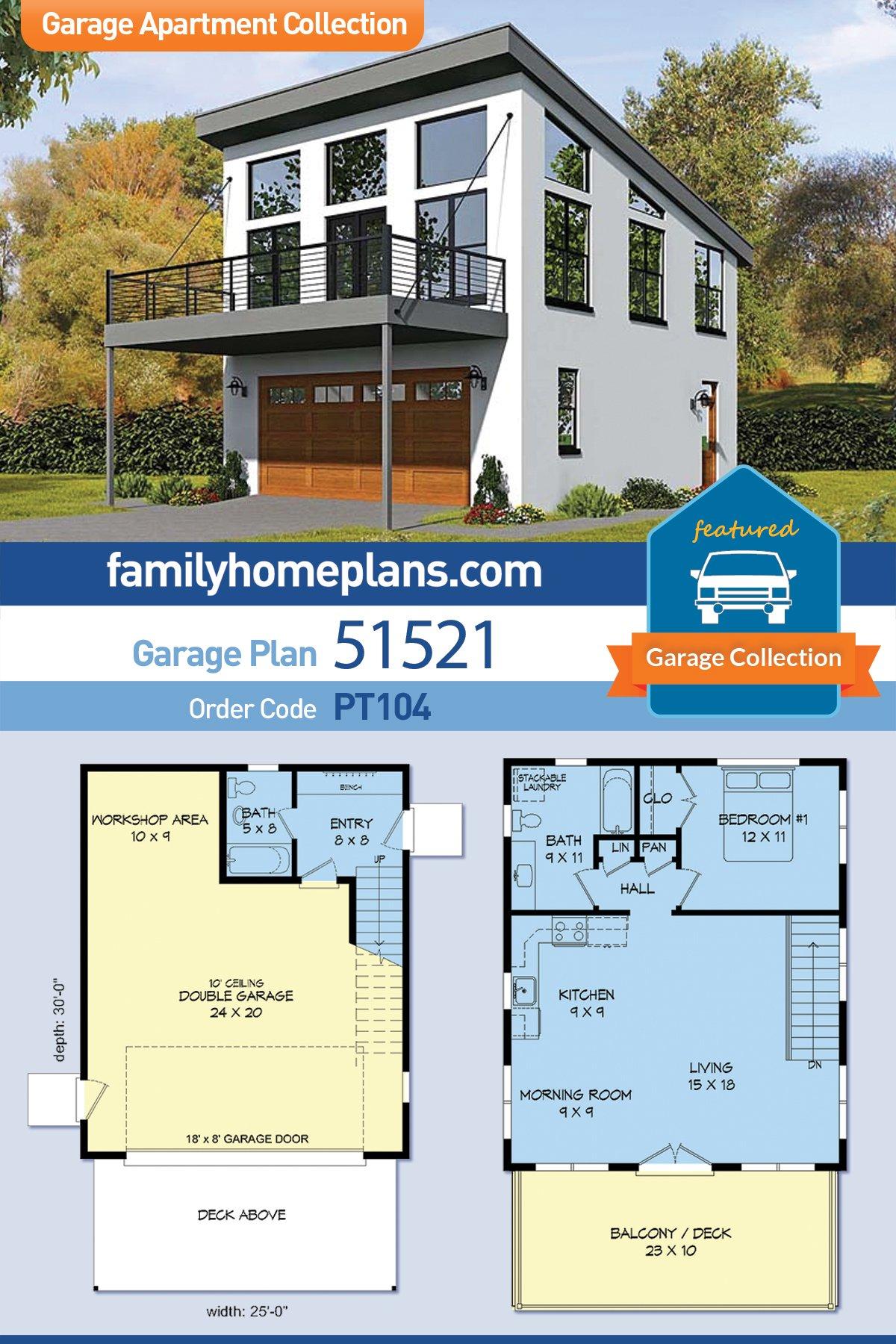 Contemporary, Modern Garage-Living Plan 51521 with 1 Beds, 2 Baths, 2 Car Garage