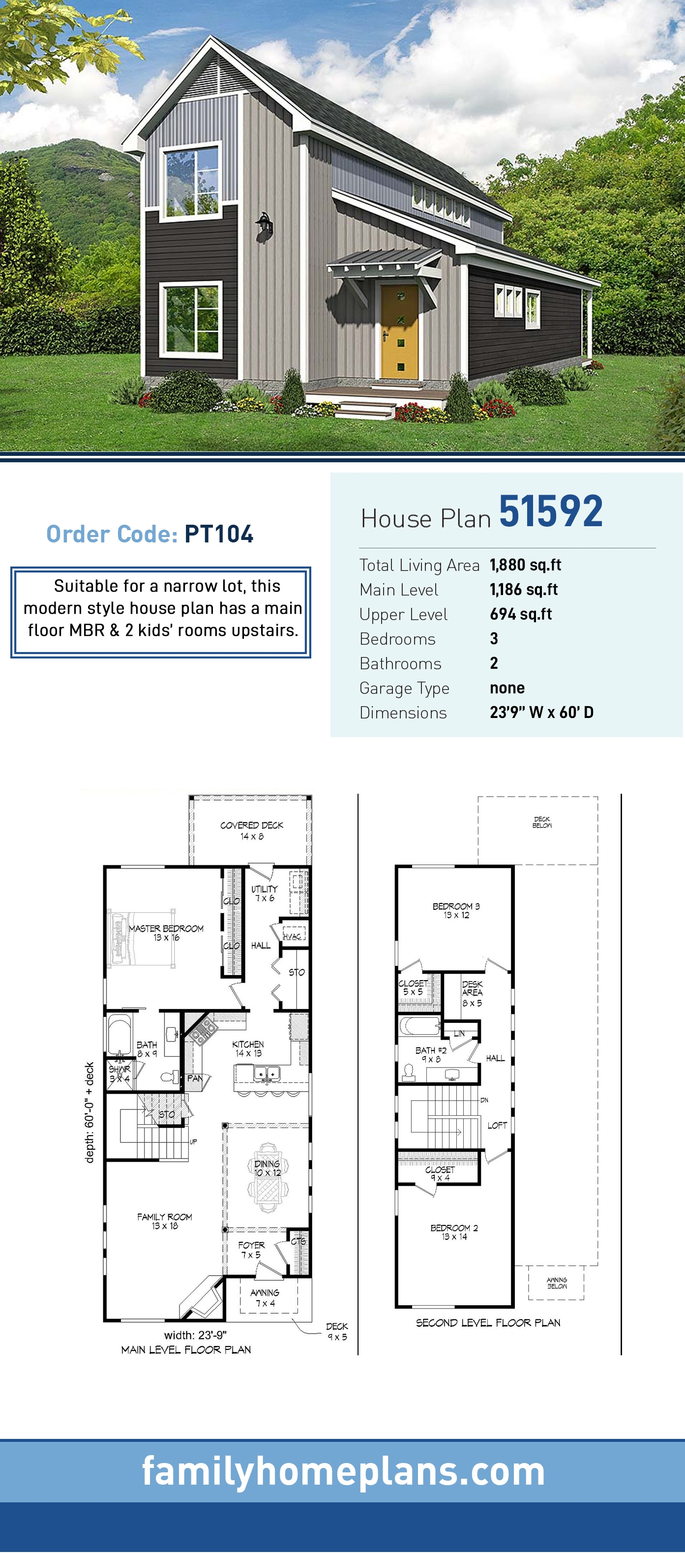 Cabin, Country, Traditional House Plan 51592 with 3 Beds, 2 Baths