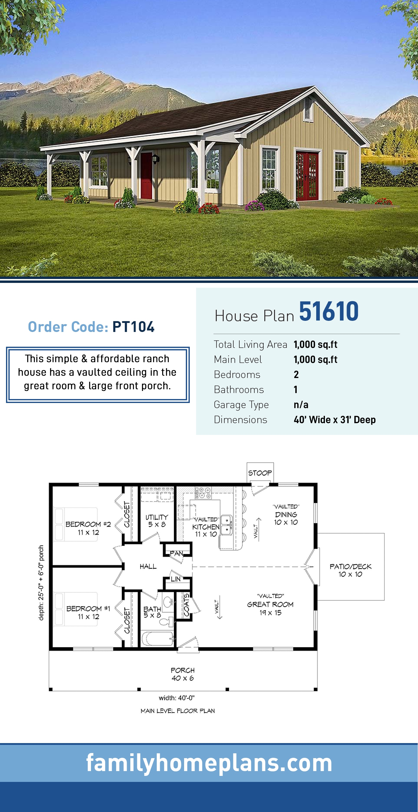 Country , Ranch House Plan 51610 with 2 Beds, 1 Baths