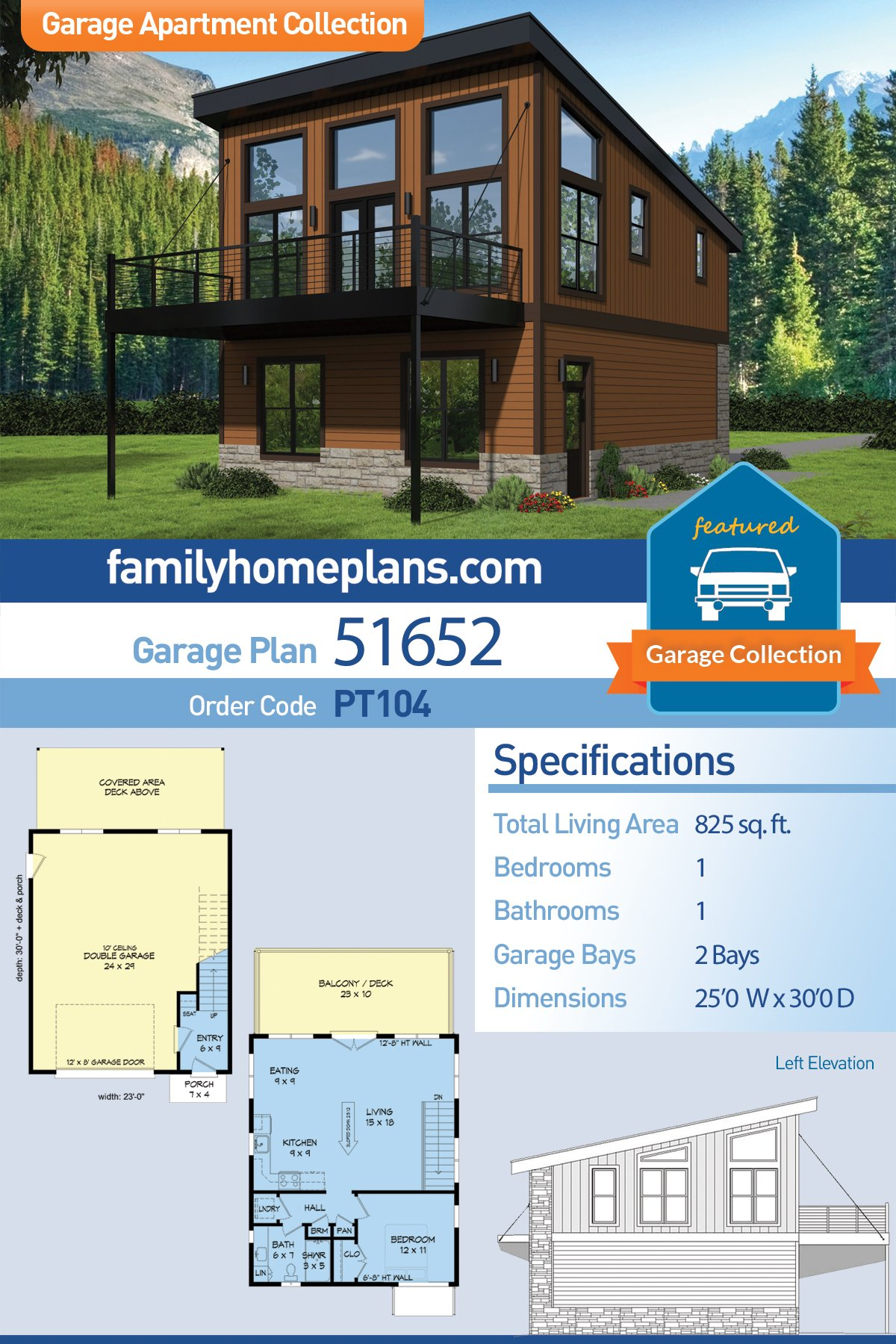 Coastal, Contemporary, Modern Garage-Living Plan 51652 with 1 Beds, 1 Baths, 2 Car Garage