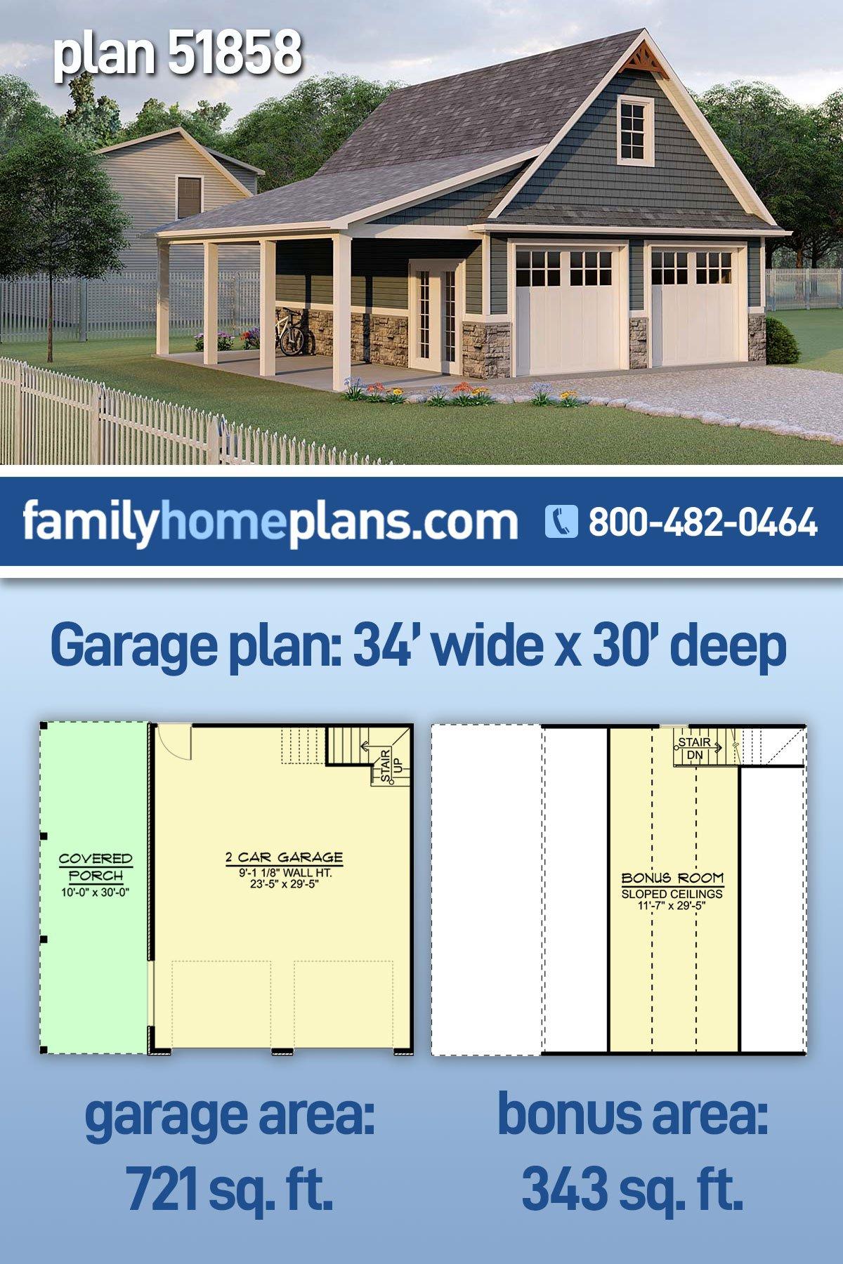 Bungalow, Country, Craftsman 2 Car Garage Apartment Plan 51858