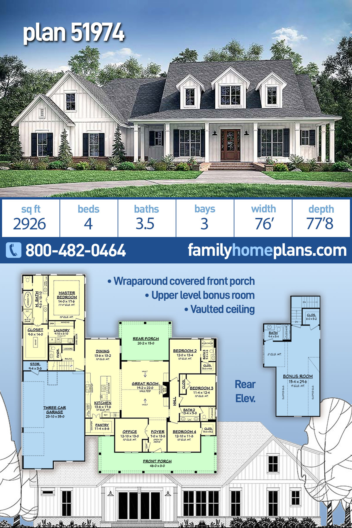 Country, Farmhouse, Southern House Plan 51974 with 4 Beds, 4 Baths, 3 Car Garage