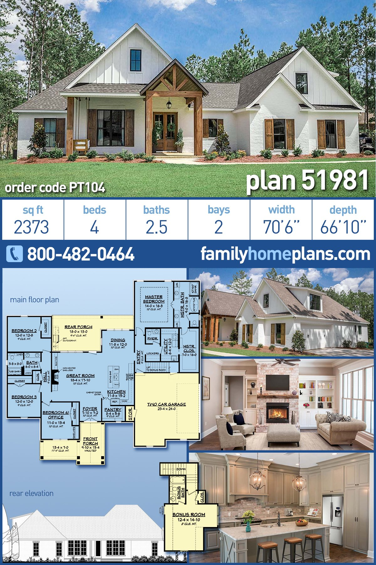 Country, Craftsman, Farmhouse House Plan 51981 with 4 Beds, 3 Baths, 2 Car Garage