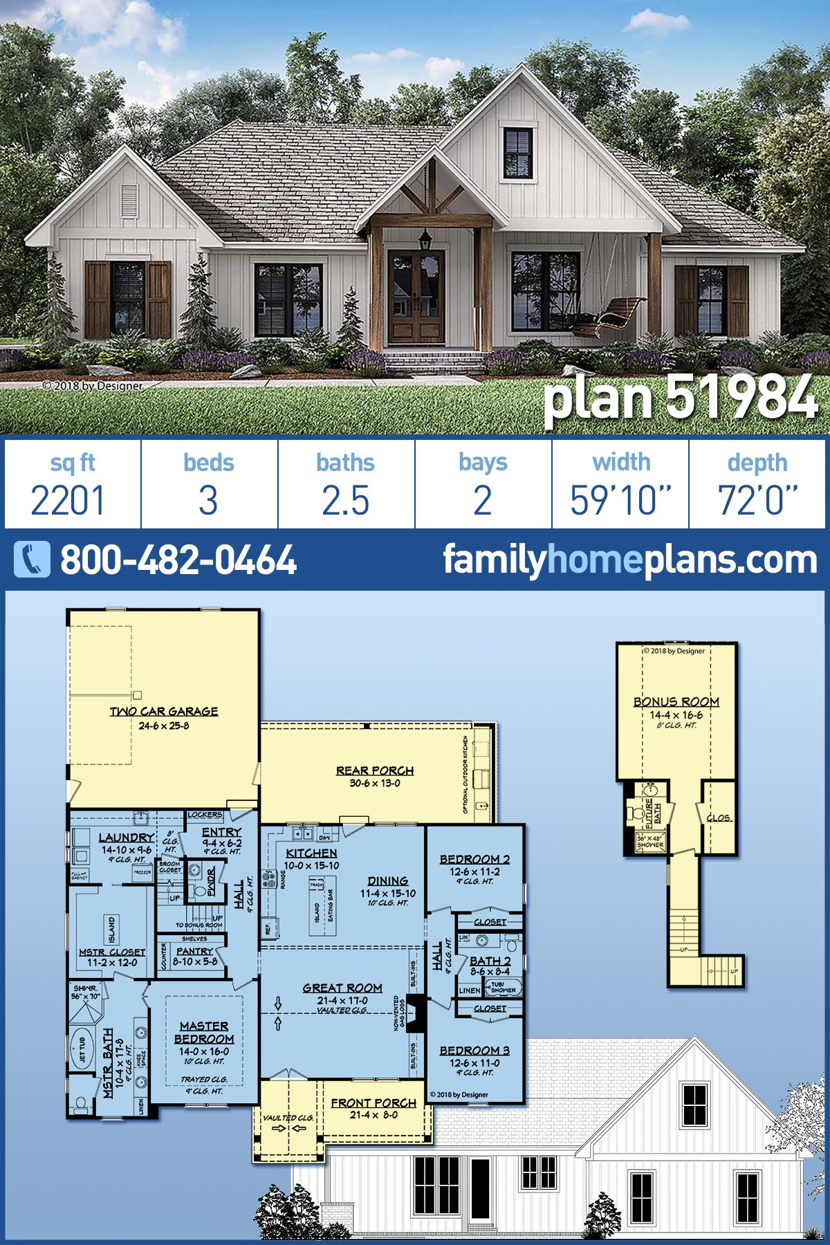Country, Farmhouse, Southern House Plan 51984 with 3 Beds, 3 Baths, 2 Car Garage