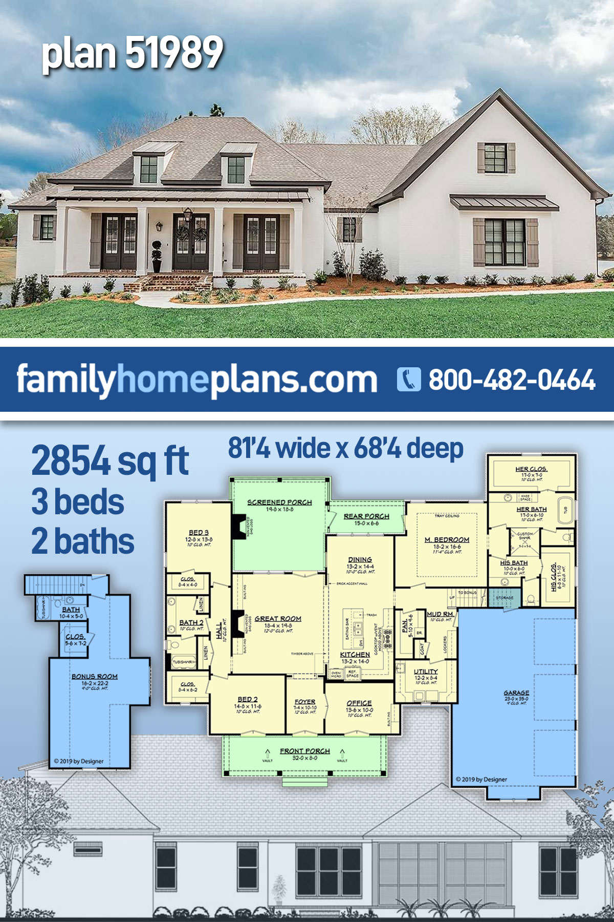 Acadian, French Country, Southern House Plan 51989 with 3 Beds, 2 Baths, 3 Car Garage