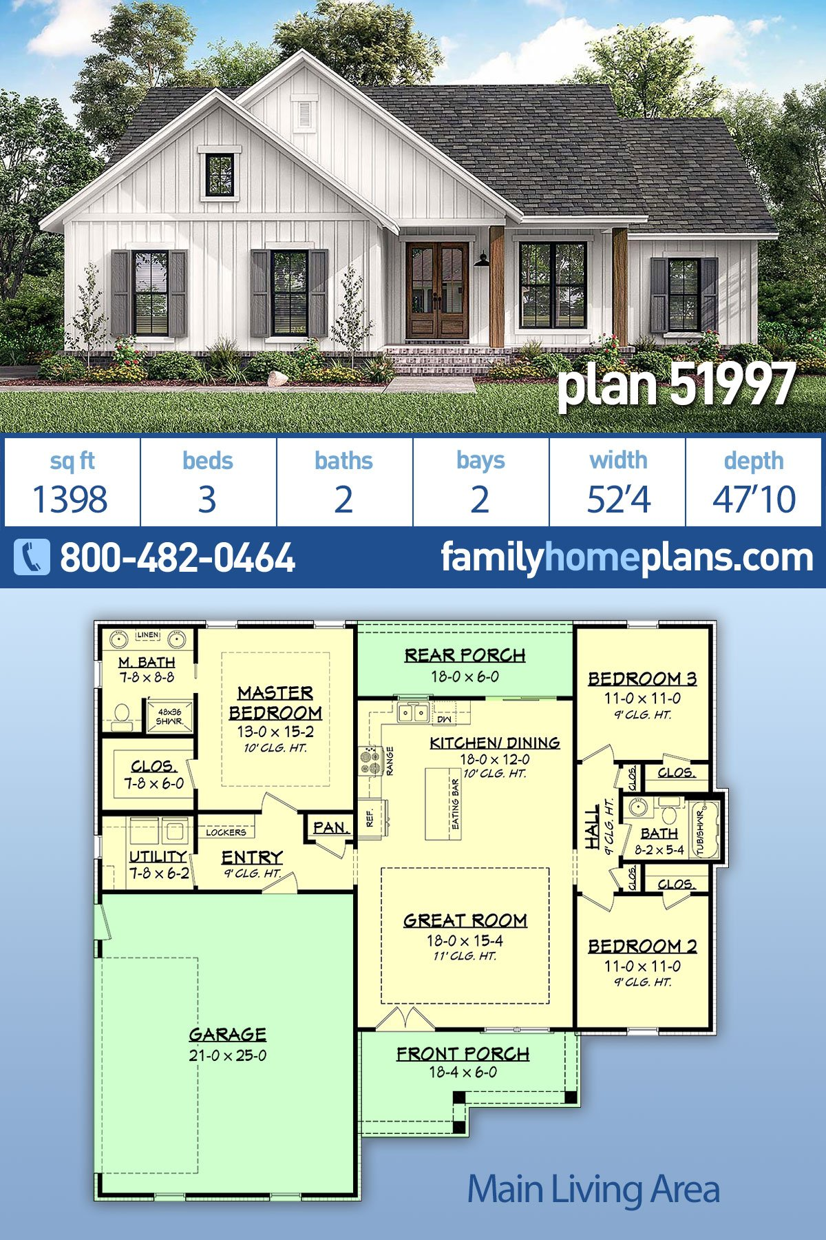 Country, Farmhouse, Southern, Traditional House Plan 51997 with 3 Beds, 2 Baths, 2 Car Garage