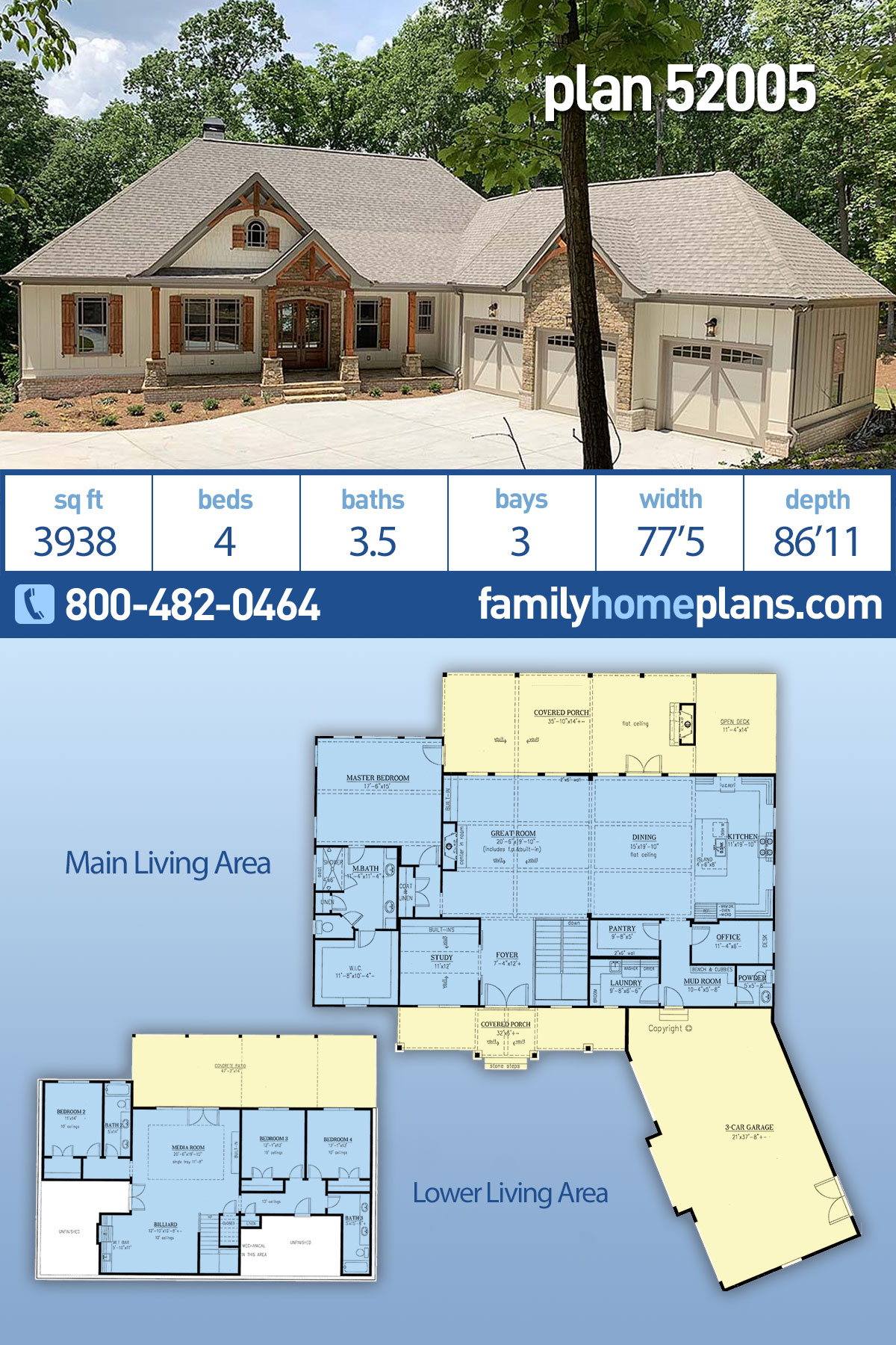 Country, Craftsman, French Country House Plan 52005 with 4 Beds, 4 Baths, 3 Car Garage