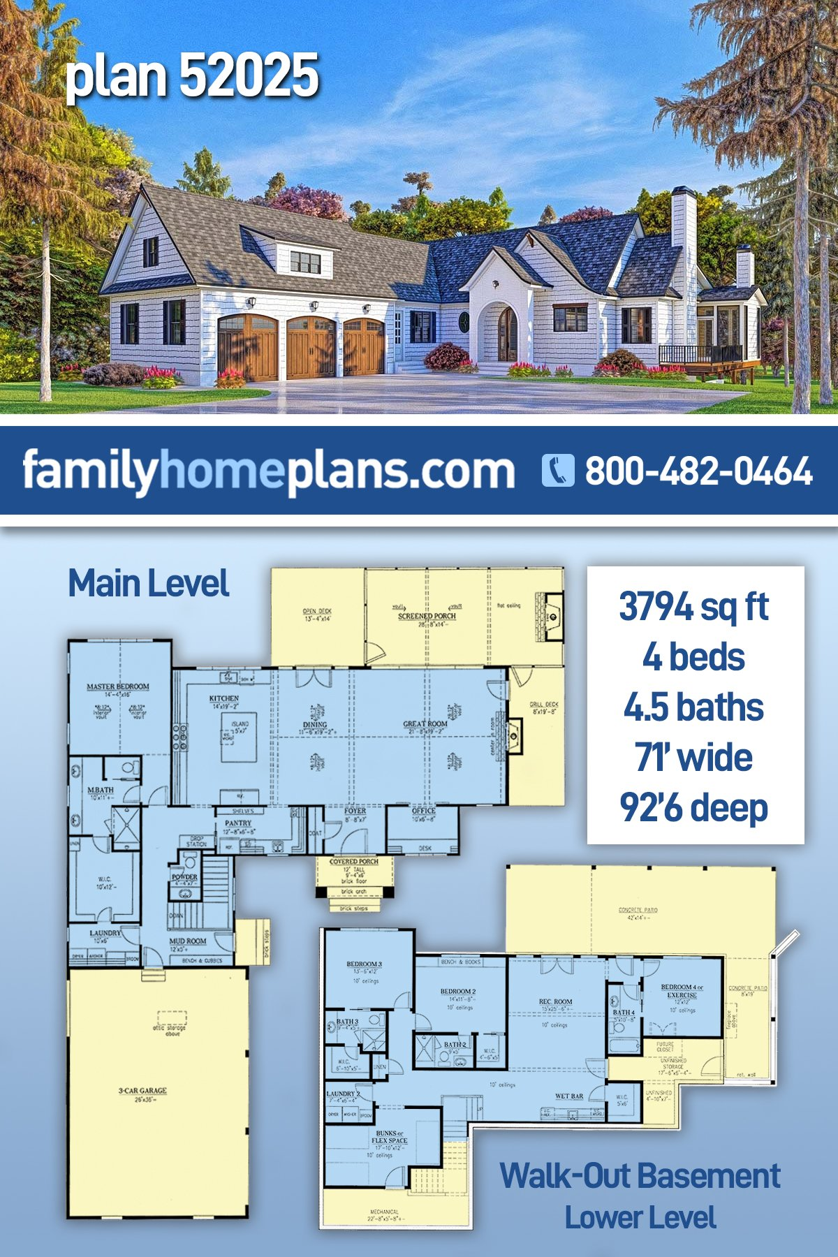 Coastal, Farmhouse, Southern House Plan 52025 with 4 Beds, 5 Baths, 3 Car Garage