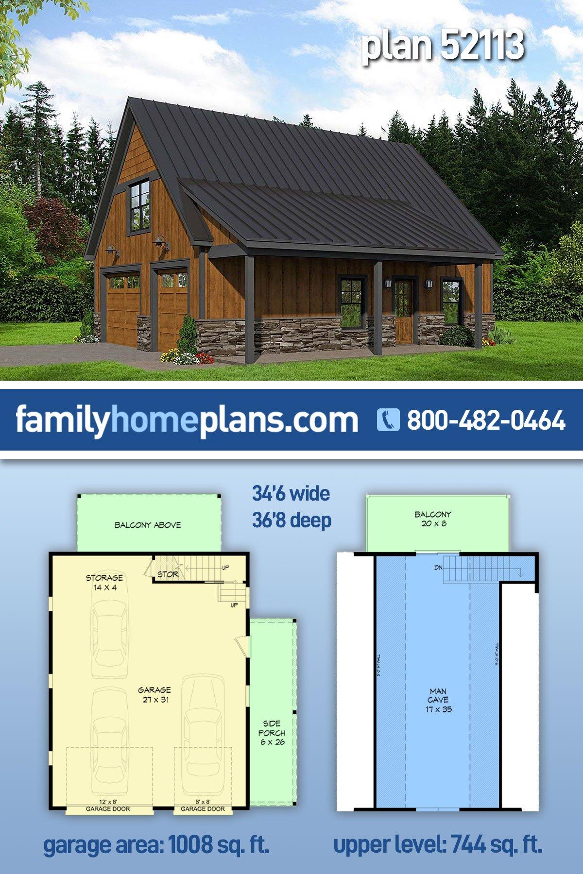 Bungalow, Country, Craftsman, Traditional 2 Car Garage Apartment Plan 52113